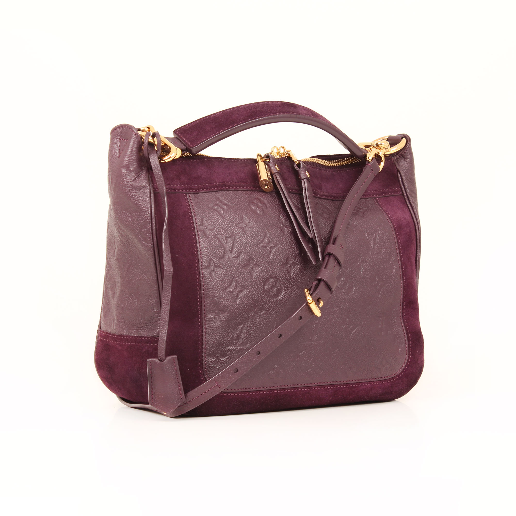 General image of louis vuitton audacieuse embossed monogram bag suede plum general