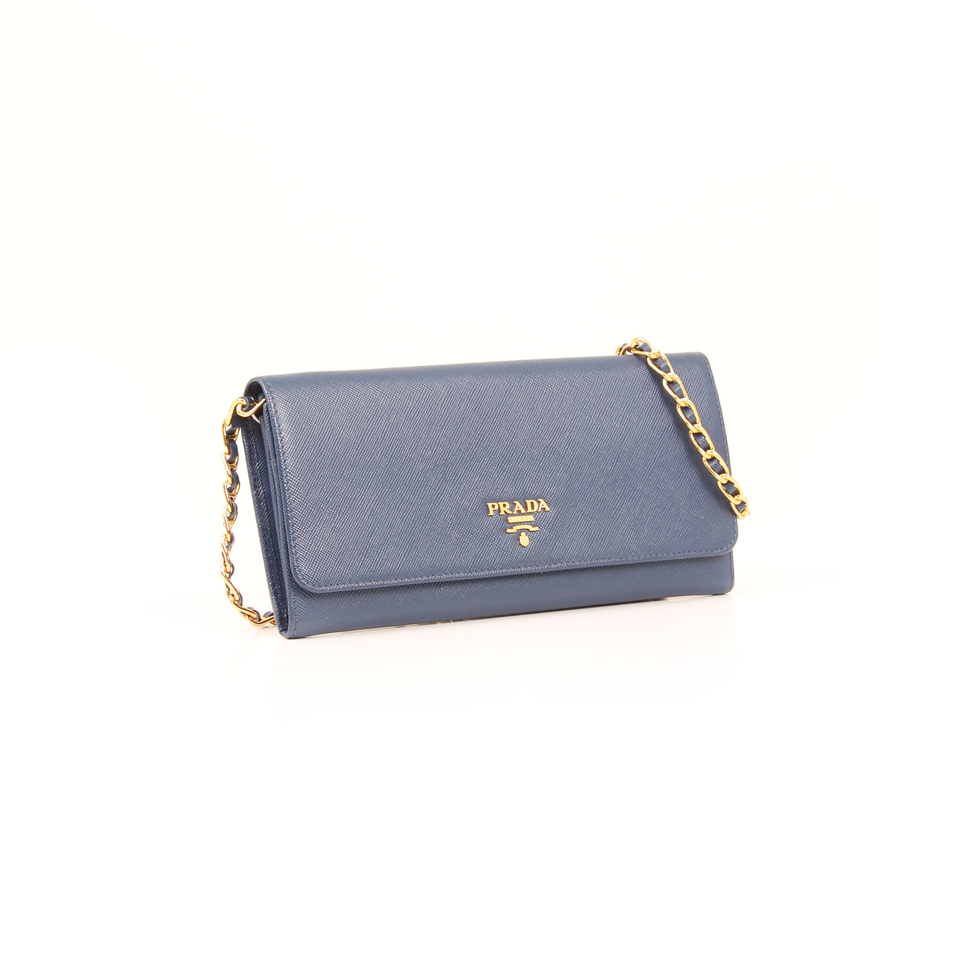 1528c94af25f Prada Wallet on Chain Bag Saffiano Metal Leather Bluette I CBL Bags