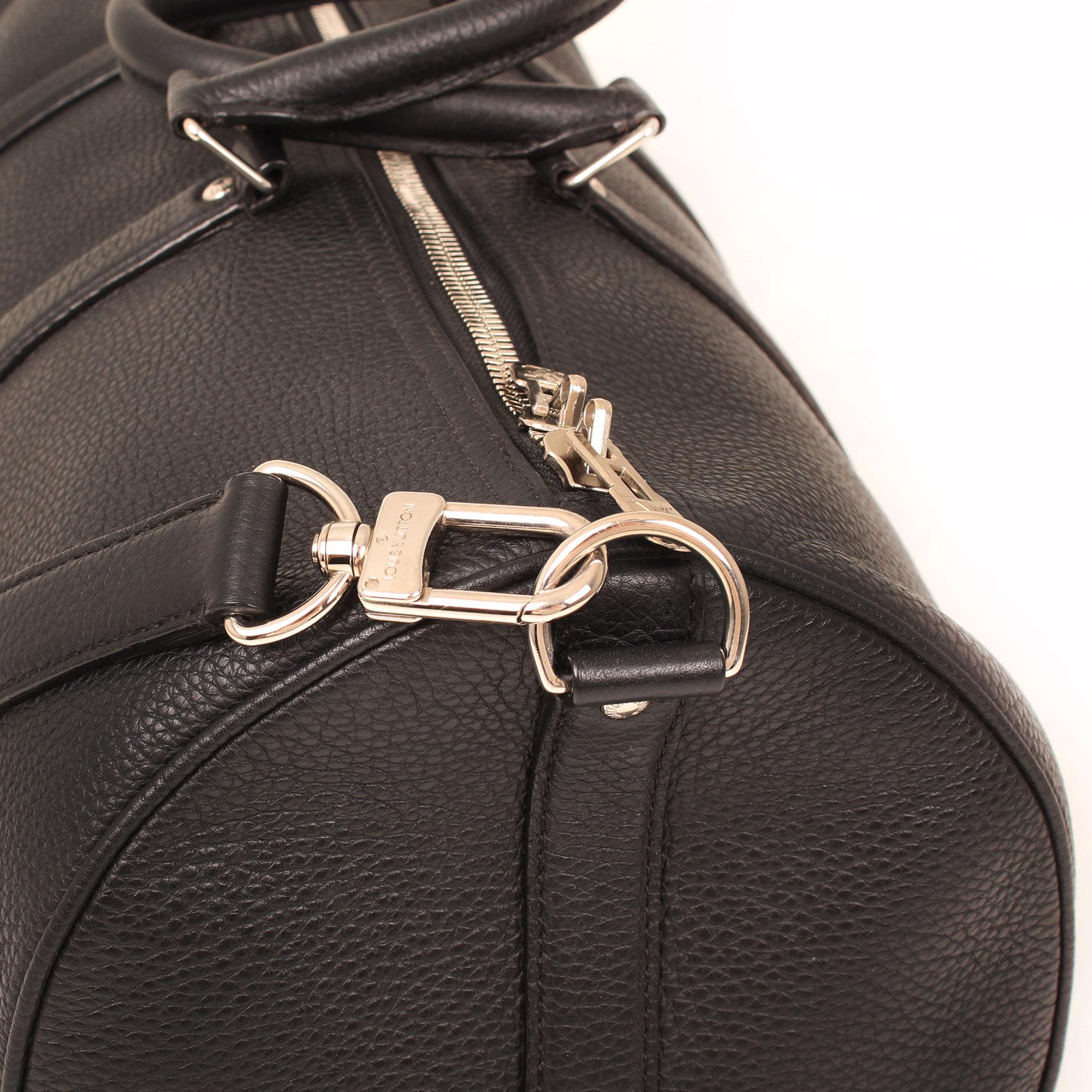 Imagen de la cremallera de la bolsa de viaje louis vuitton keepall 45 piel negro