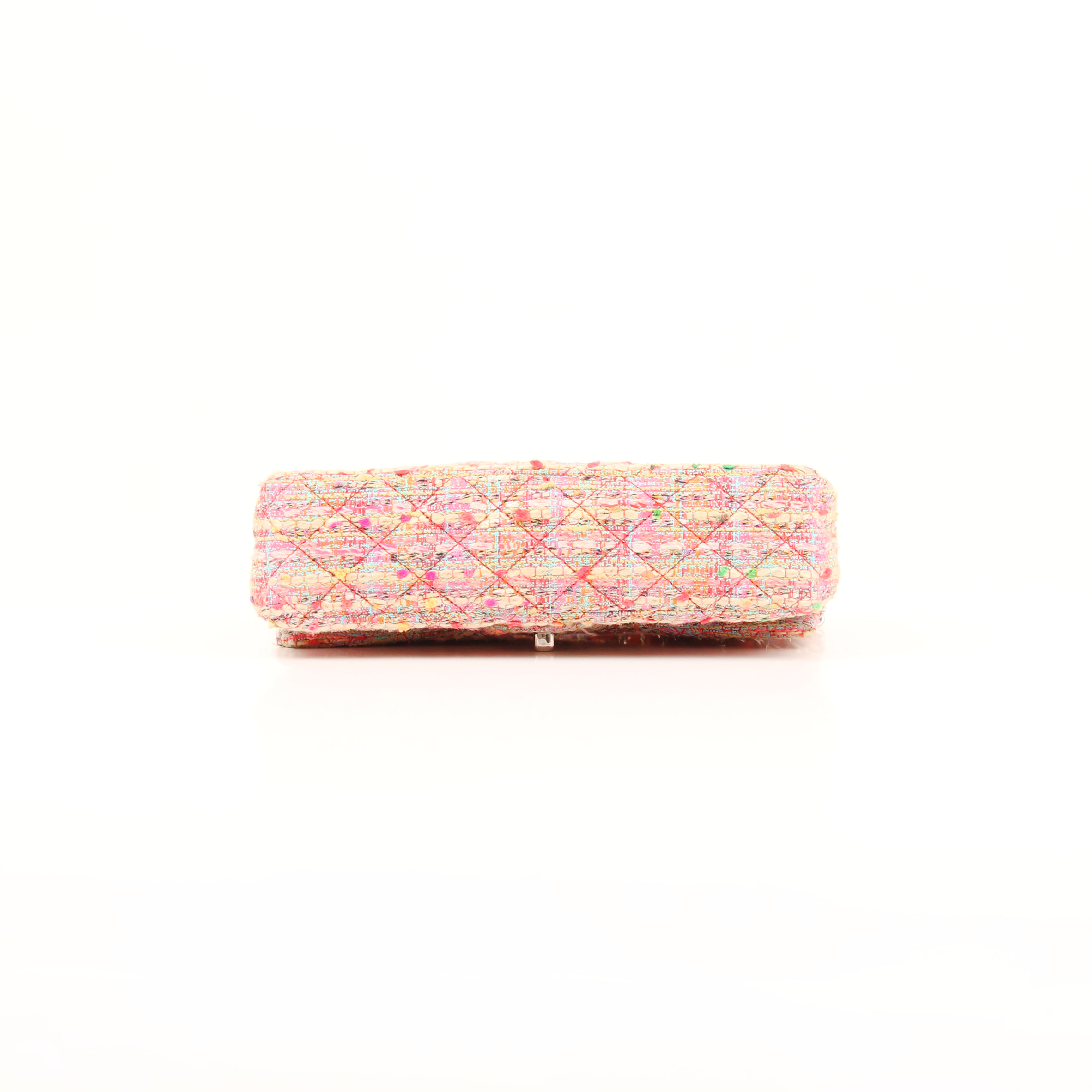 Bottom image from chanel timeless tweed pink multicolor neon double flap bag