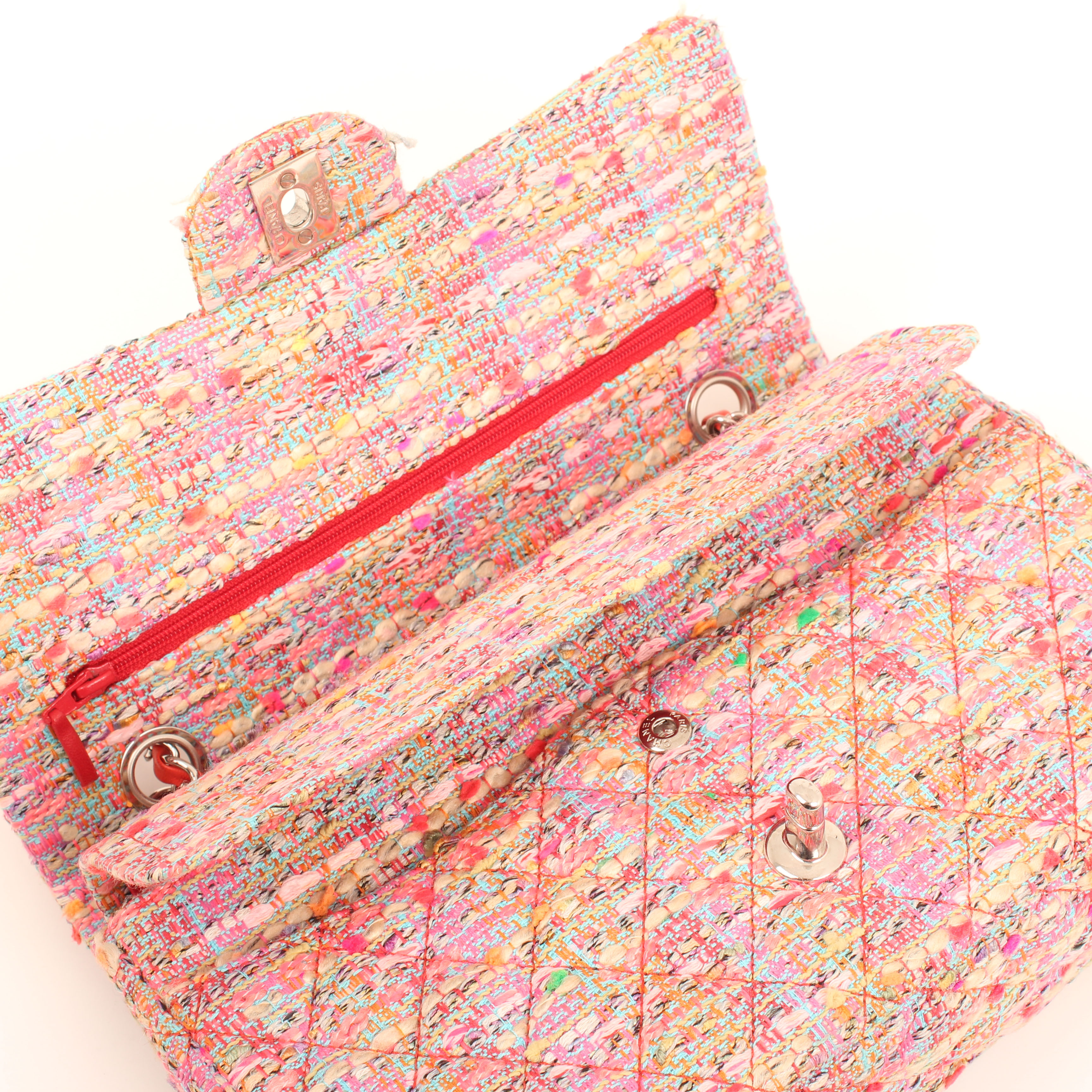 Image from chanel timeless tweed pink multicolor neon double flap bag open