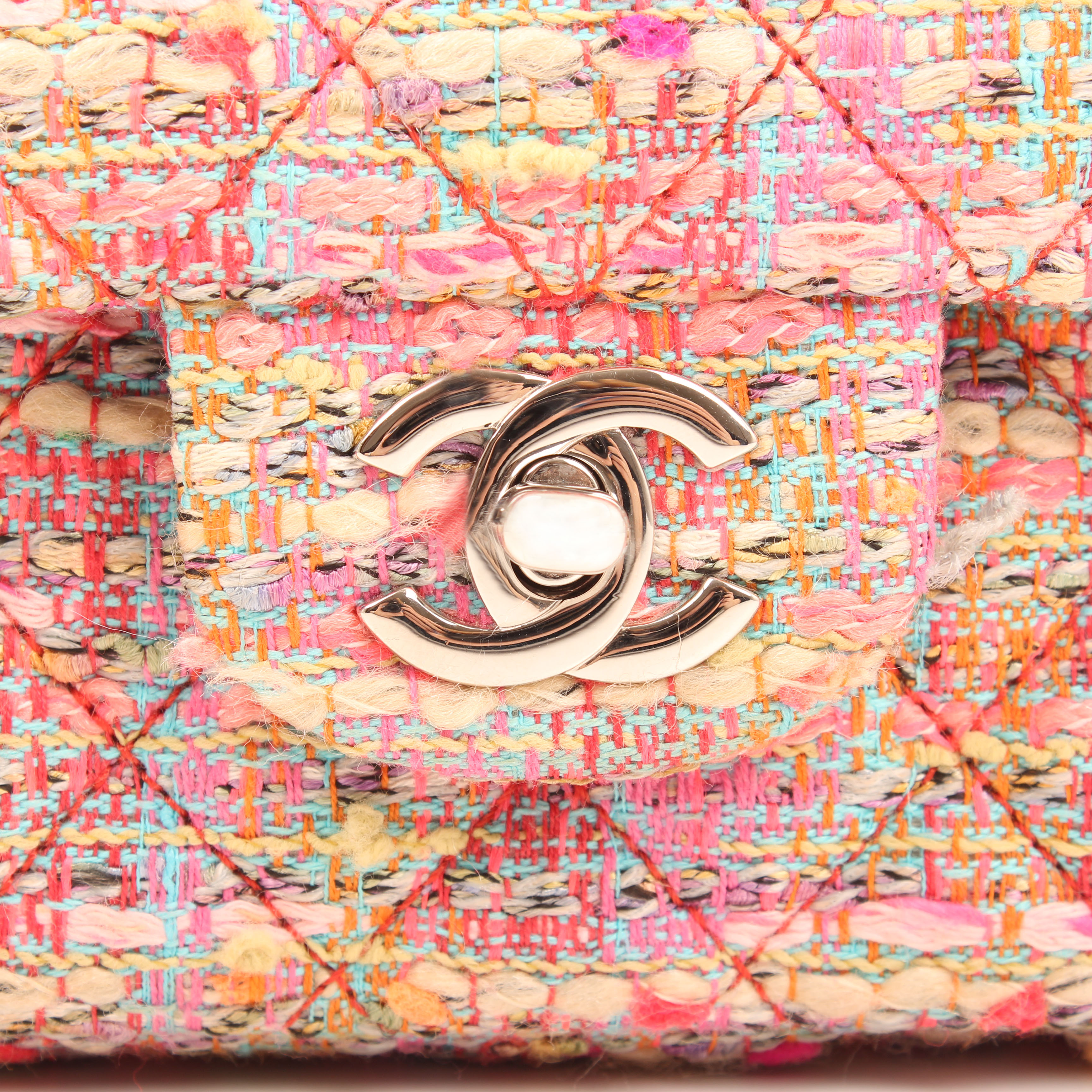 Image of turnlock from chanel timeless tweed pink multicolor neon double flap bag