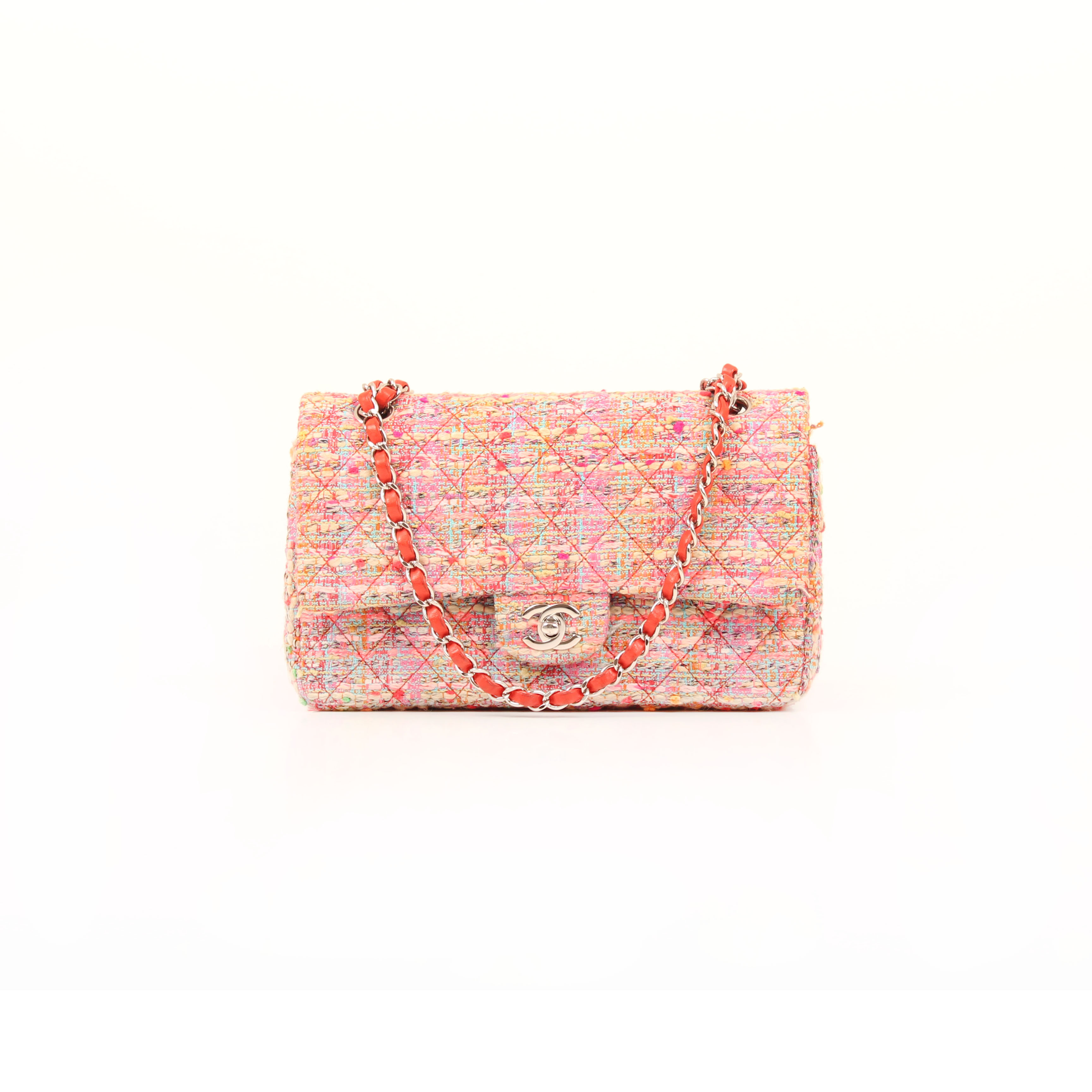Front image from chanel timeless tweed pink multicolor neon double flap bag