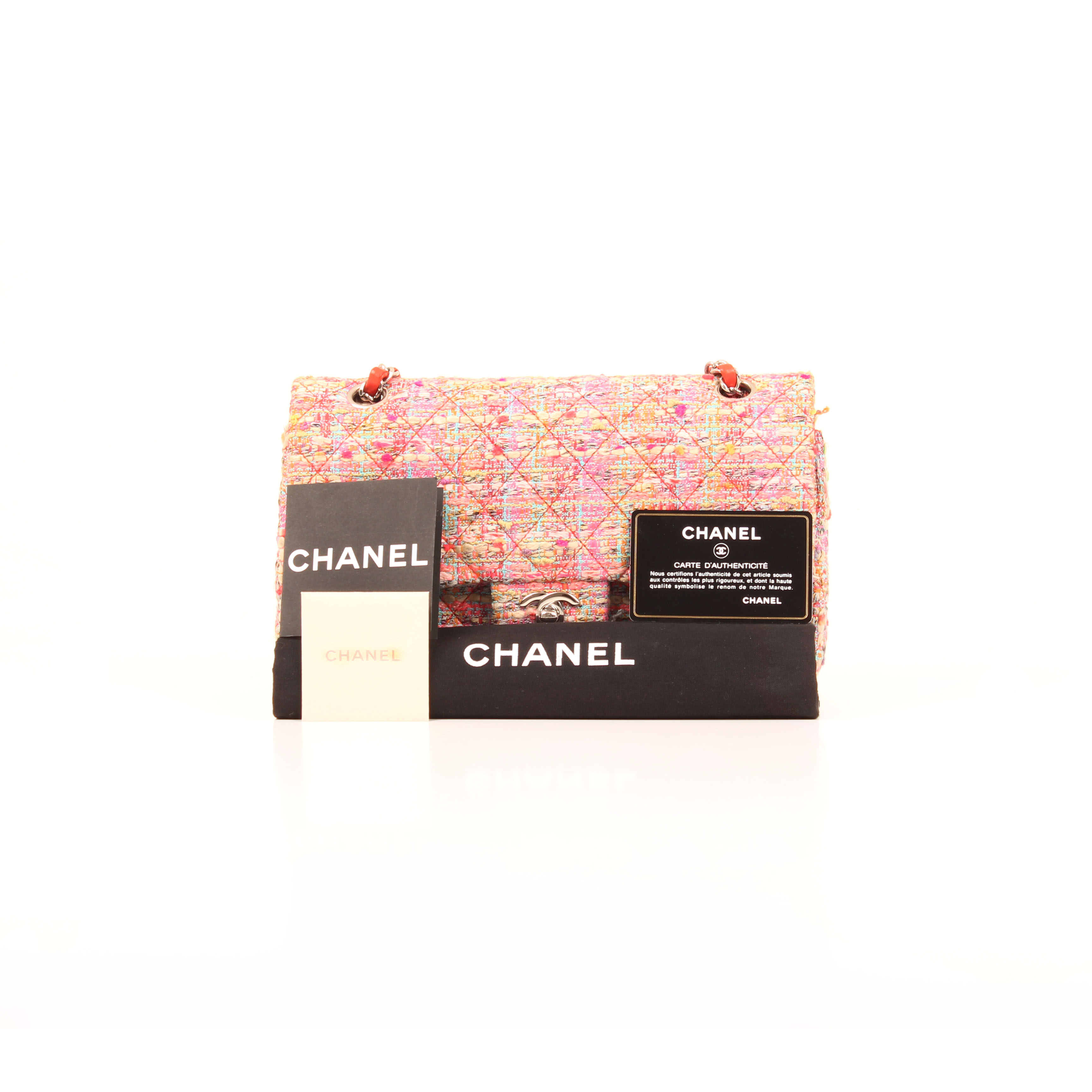 Front image from chanel timeless tweed pink multicolor neon double flap bag with dustbag and card