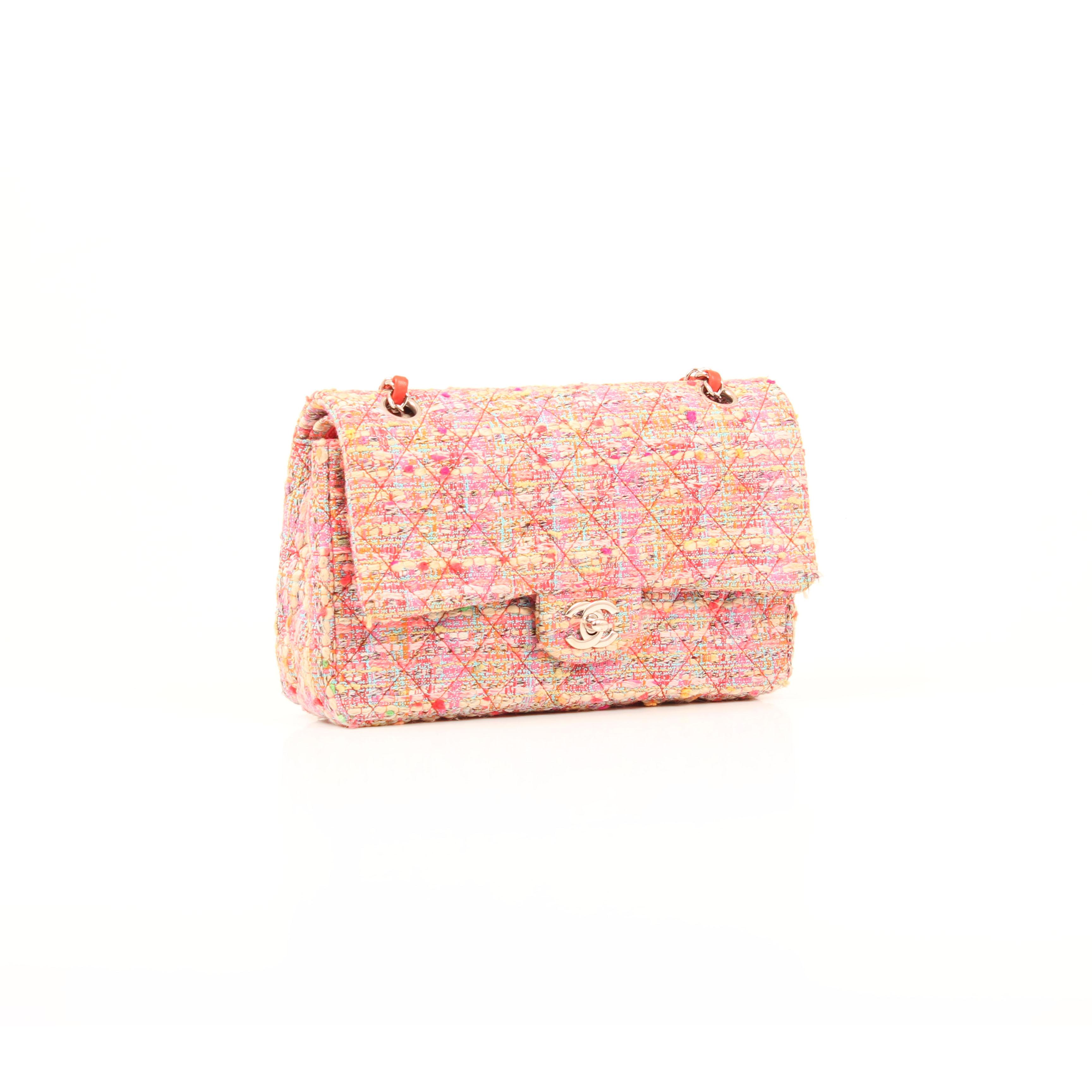 Imagen general del bolso chanel timeless double flap en tweed rosa multicolor fluor