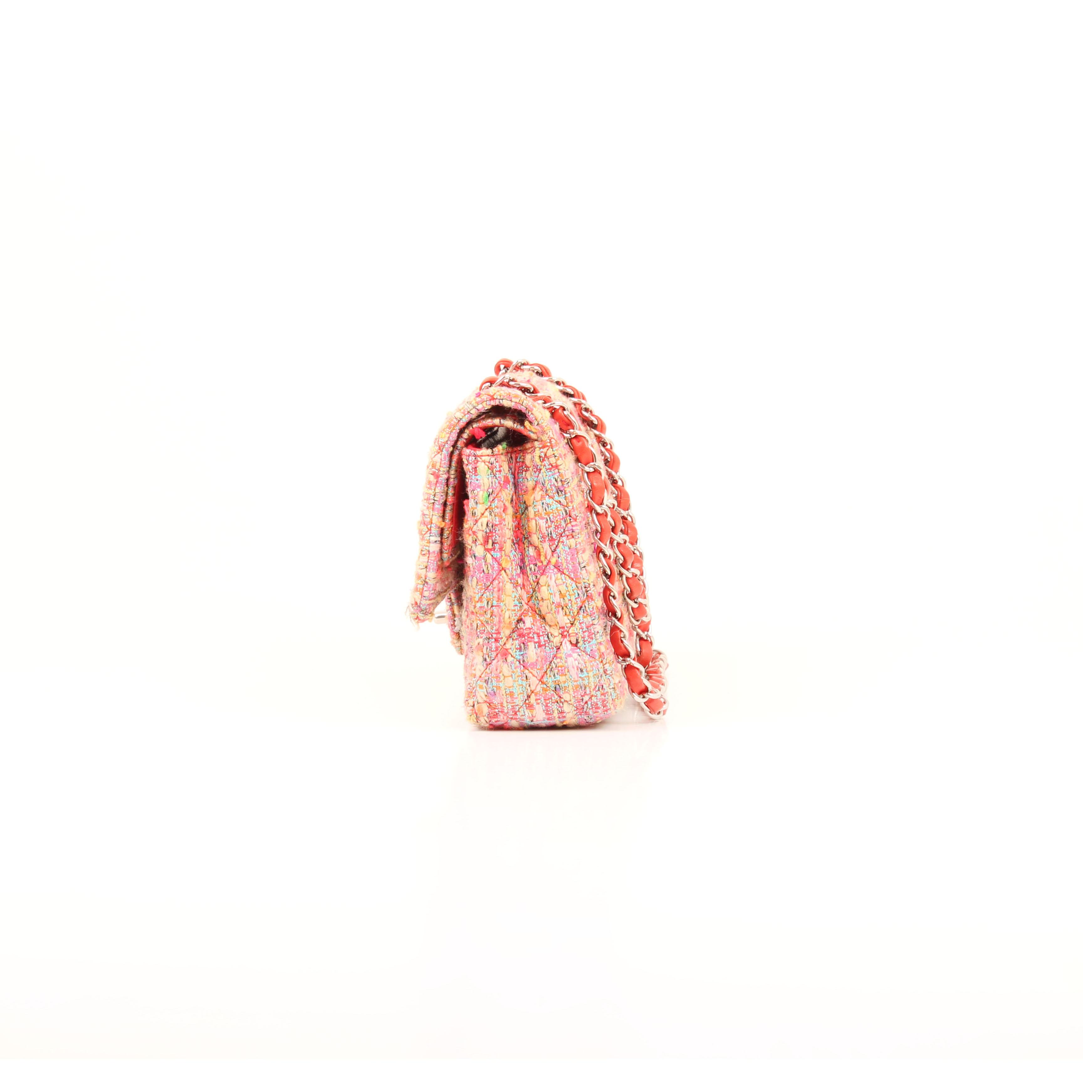 Side image from chanel timeless tweed pink multicolor neon double flap bag