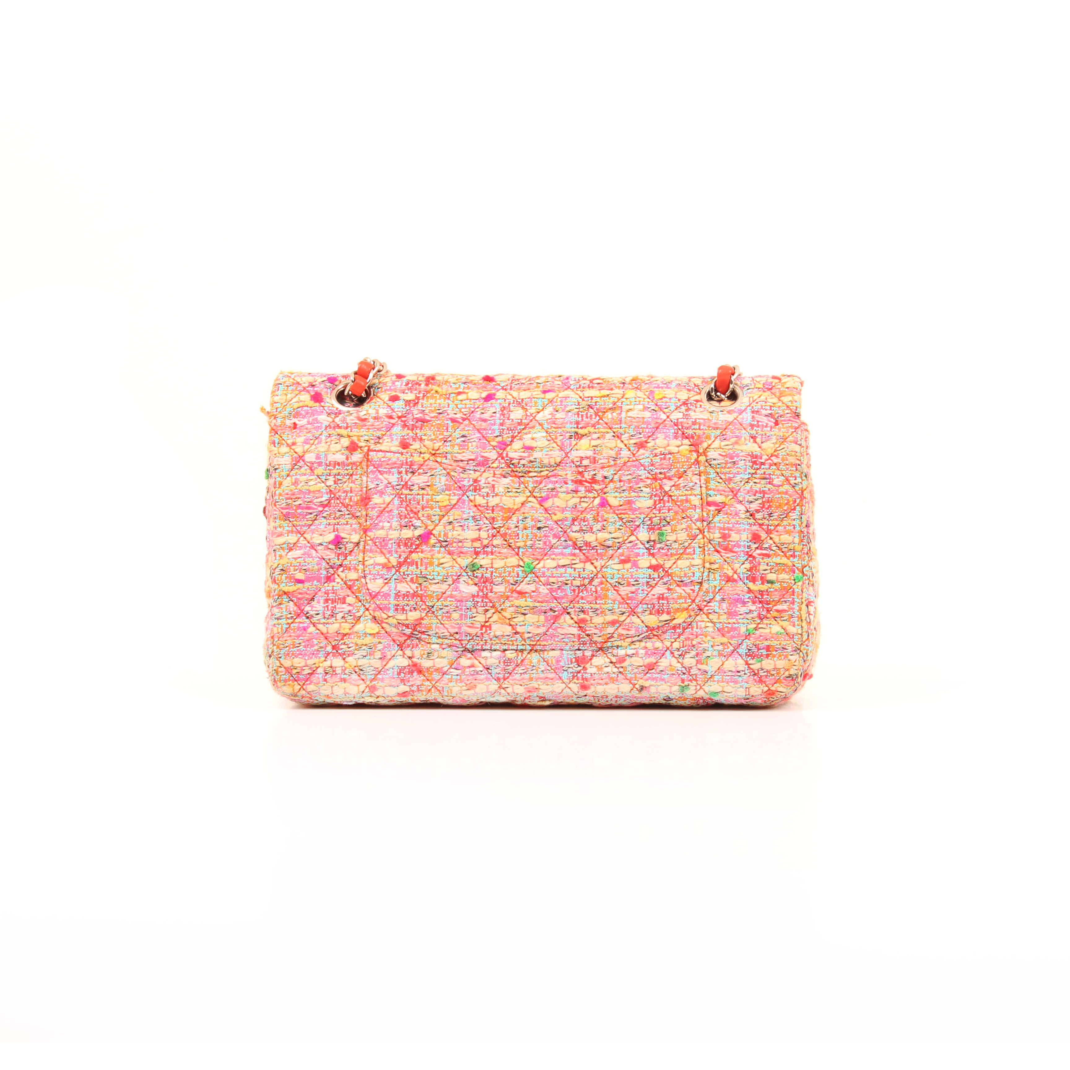 Back image from chanel timeless tweed pink multicolor neon double flap bag