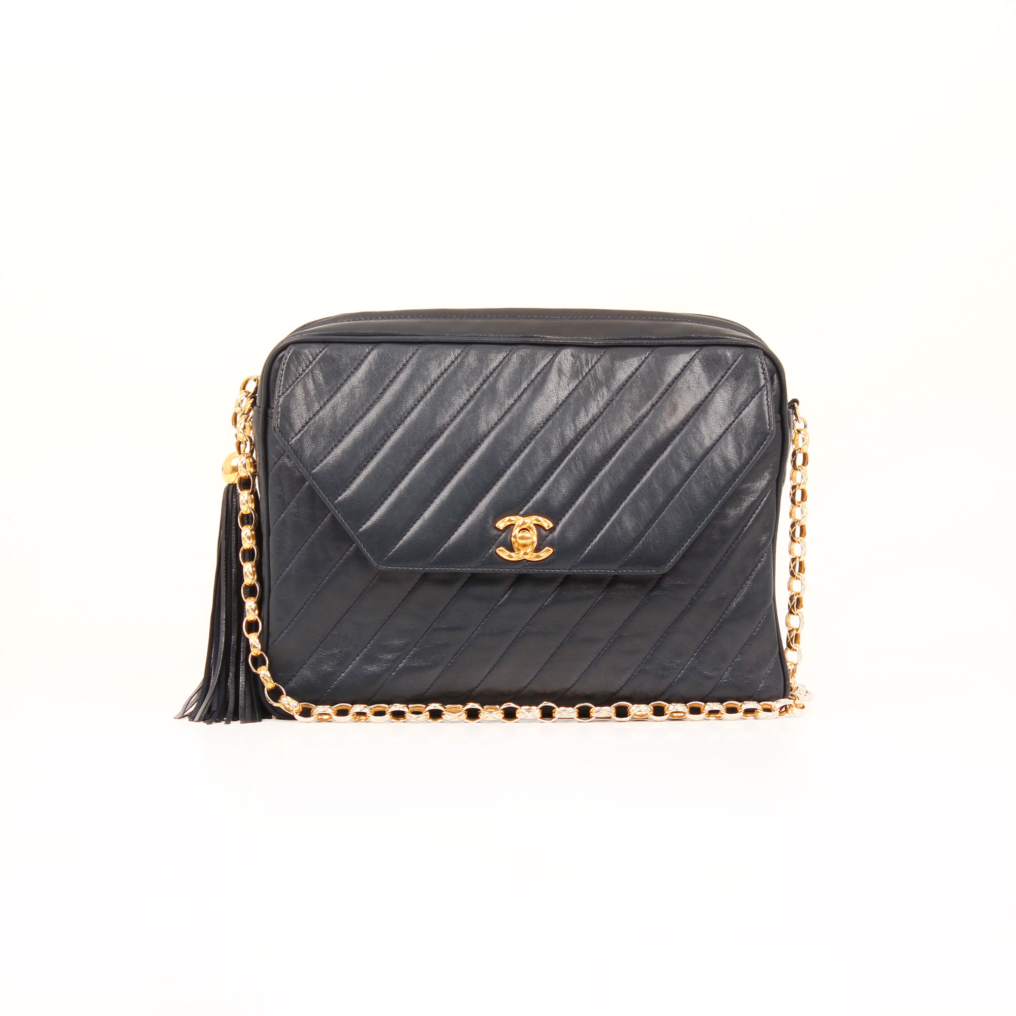 aa4b1a2e66ac61 Chanel Camera Vintage Vertical Quilted Navy Crossbody Bag I CBL Bags