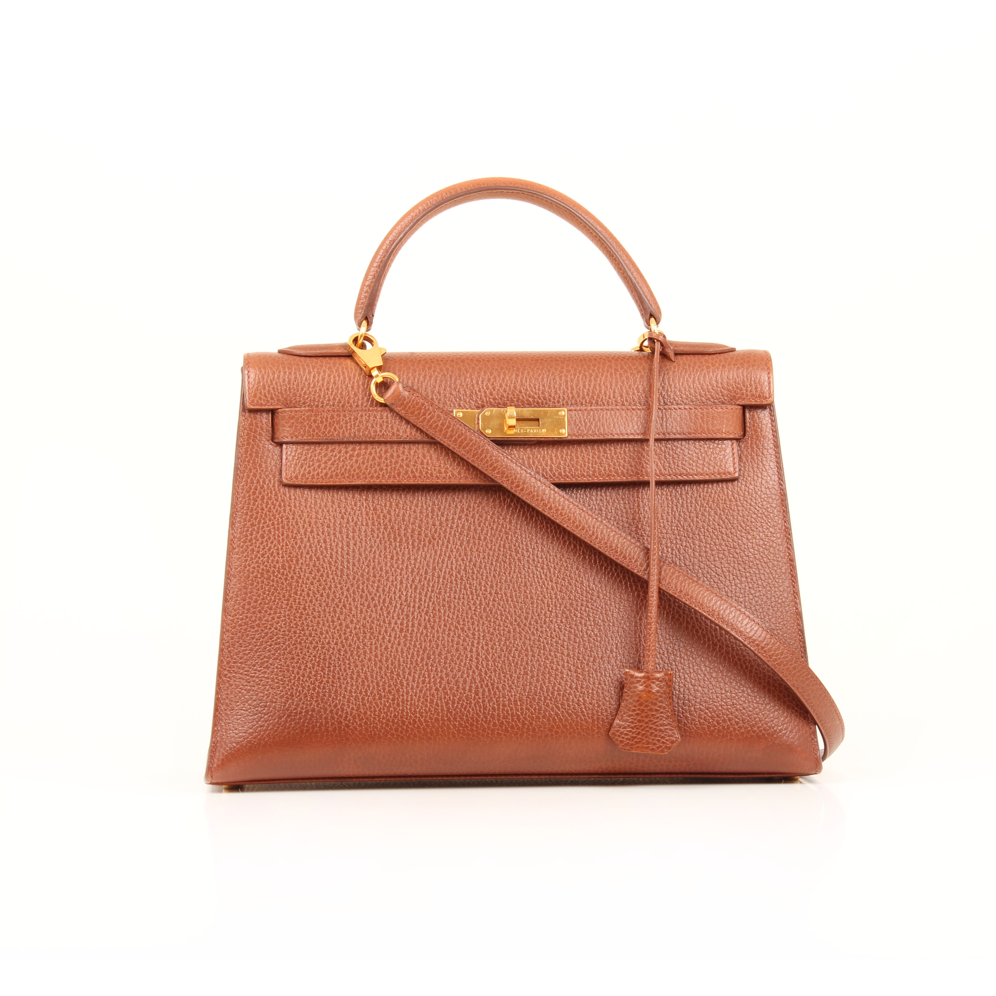 Frontal image of hermes kelly 32 bag sellier ardenas leather brown noisette