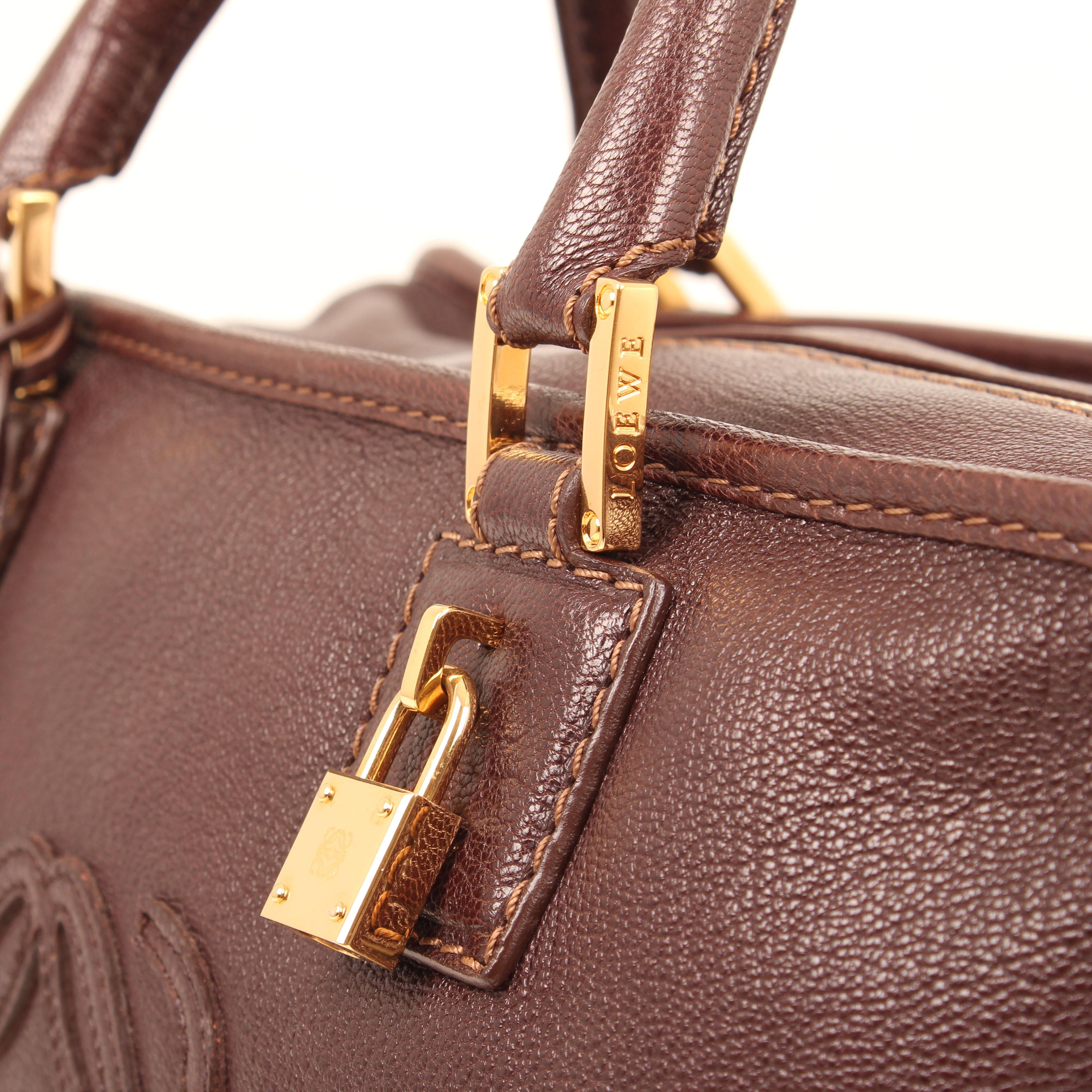 handbag loewe amazona 36 leather brown padlock
