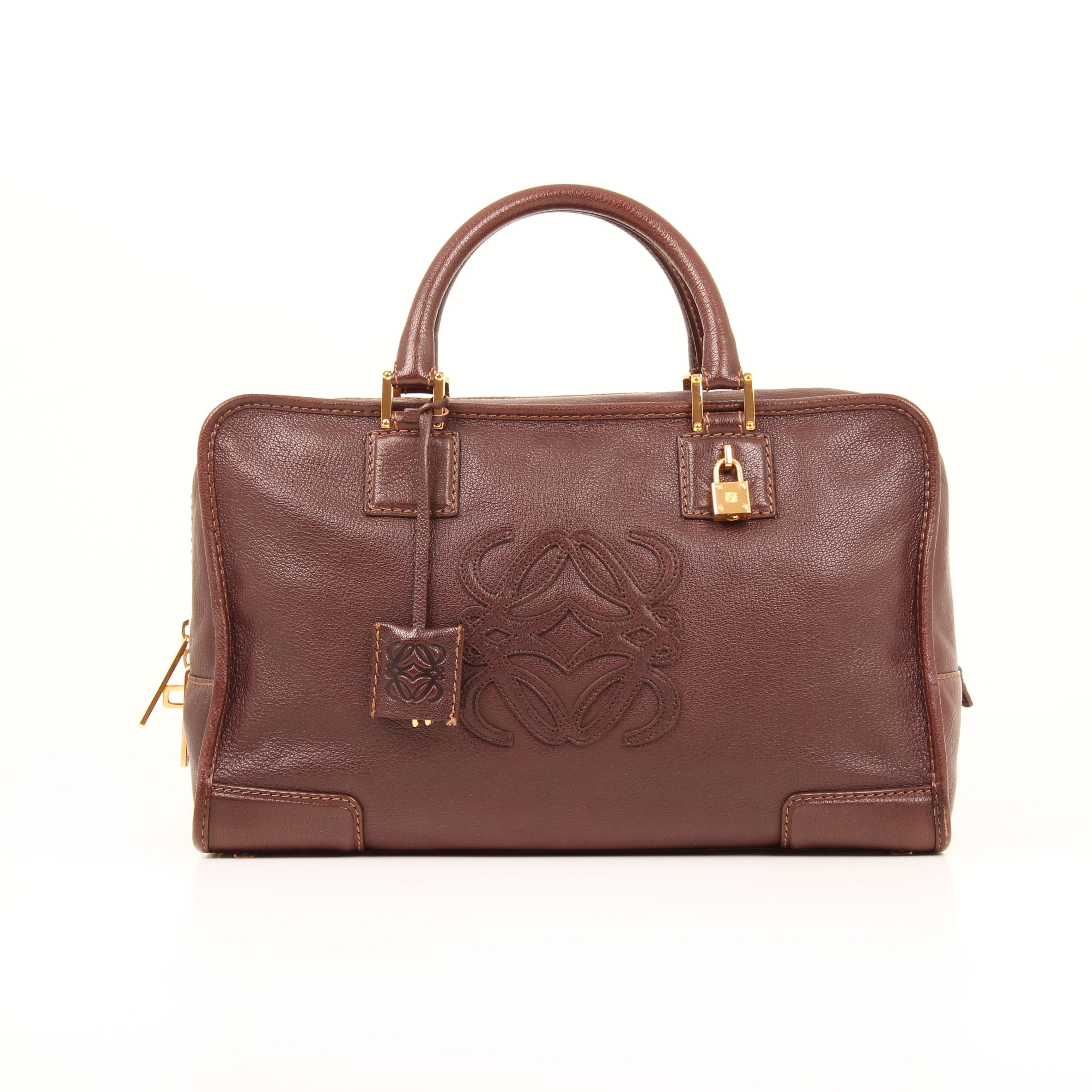handbag loewe amazona 36 brown leather front