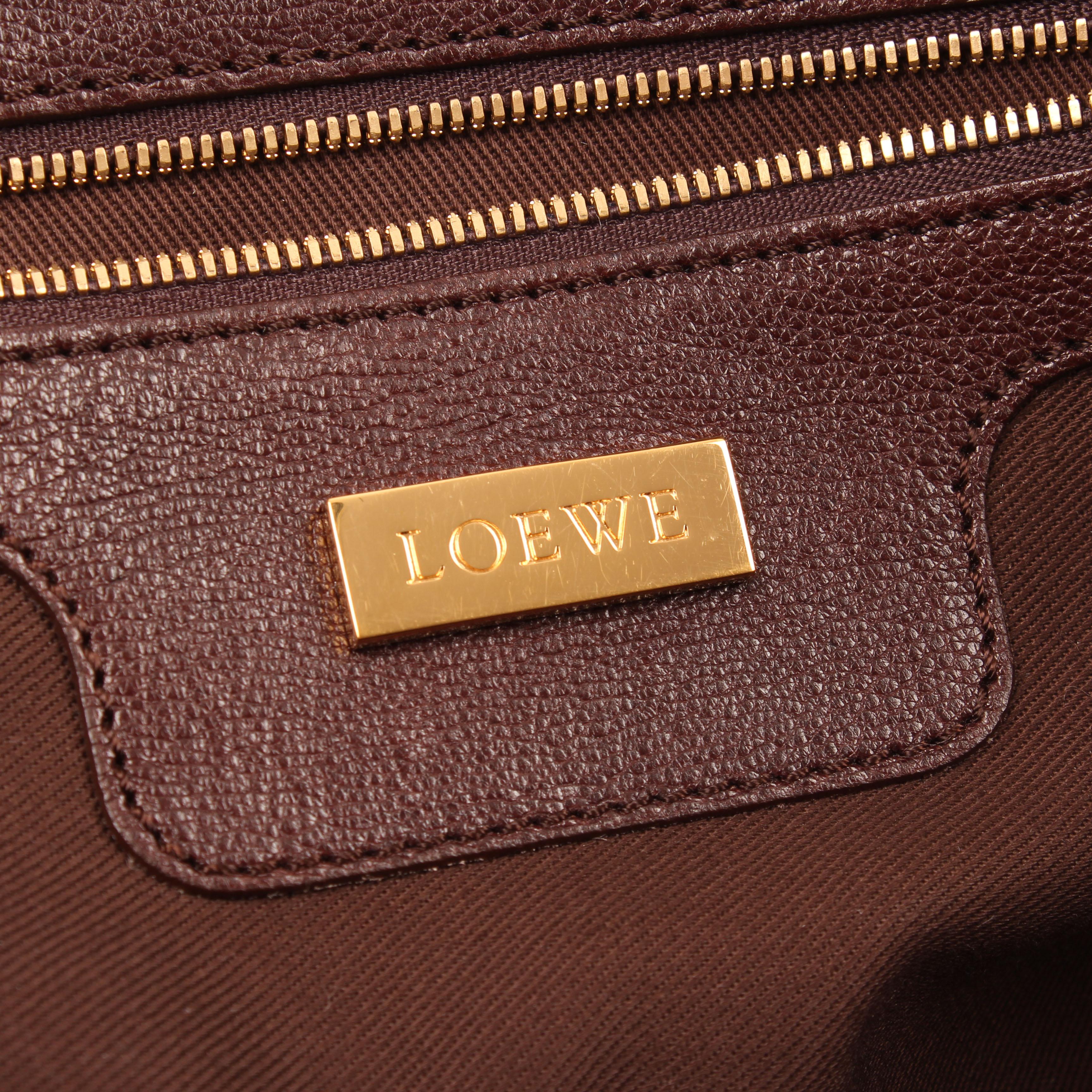 handbag loewe amazona 36 leather brown brand