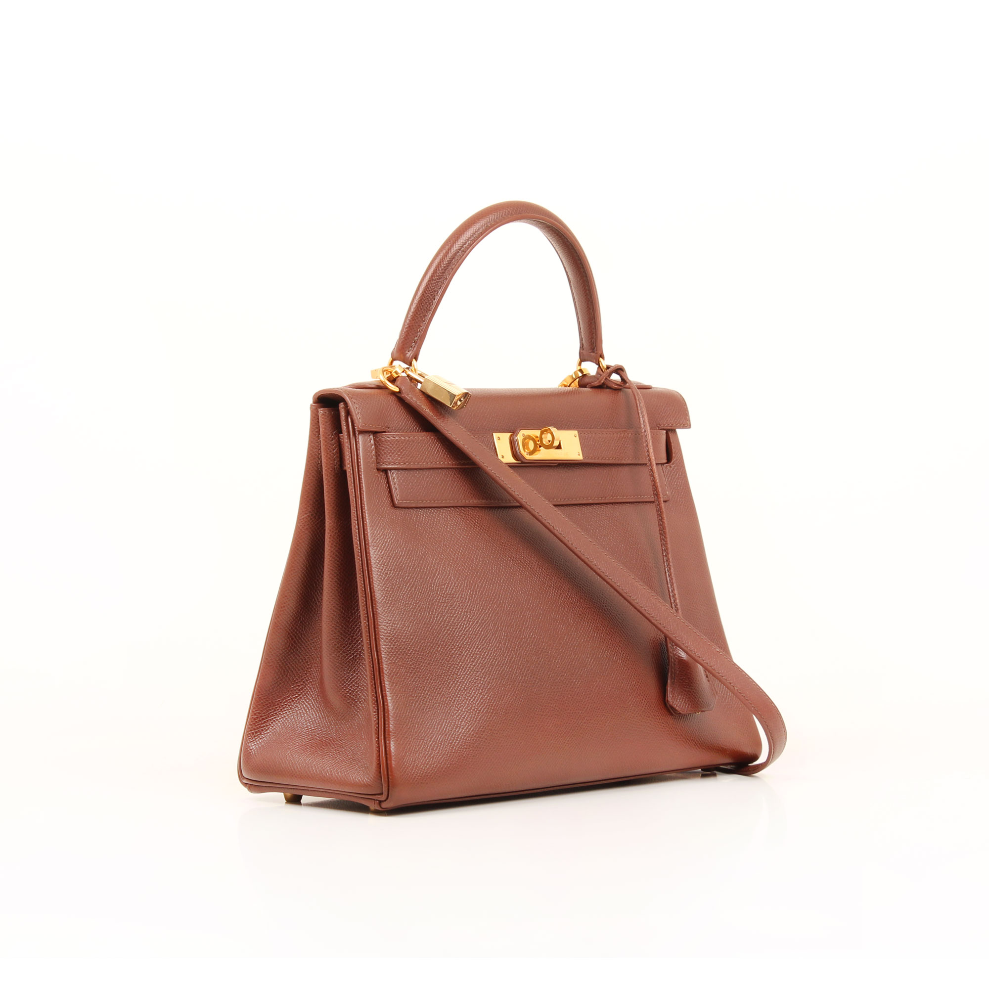 General image of hermes kelly 28 bag epsom brown retourne