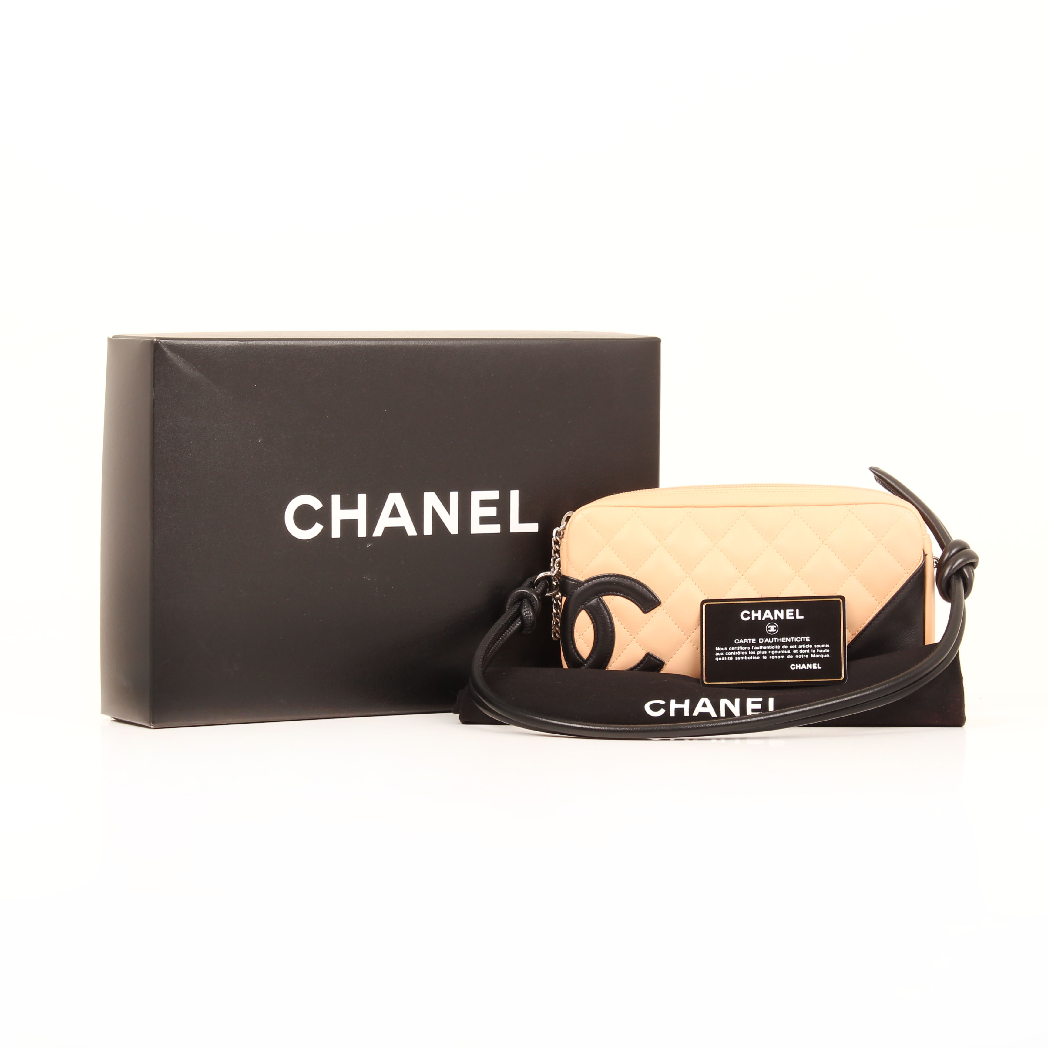 7d7fe265241977 Chanel Pochette Cambon Quilted Lambskin Leather Nude I CBL Bags