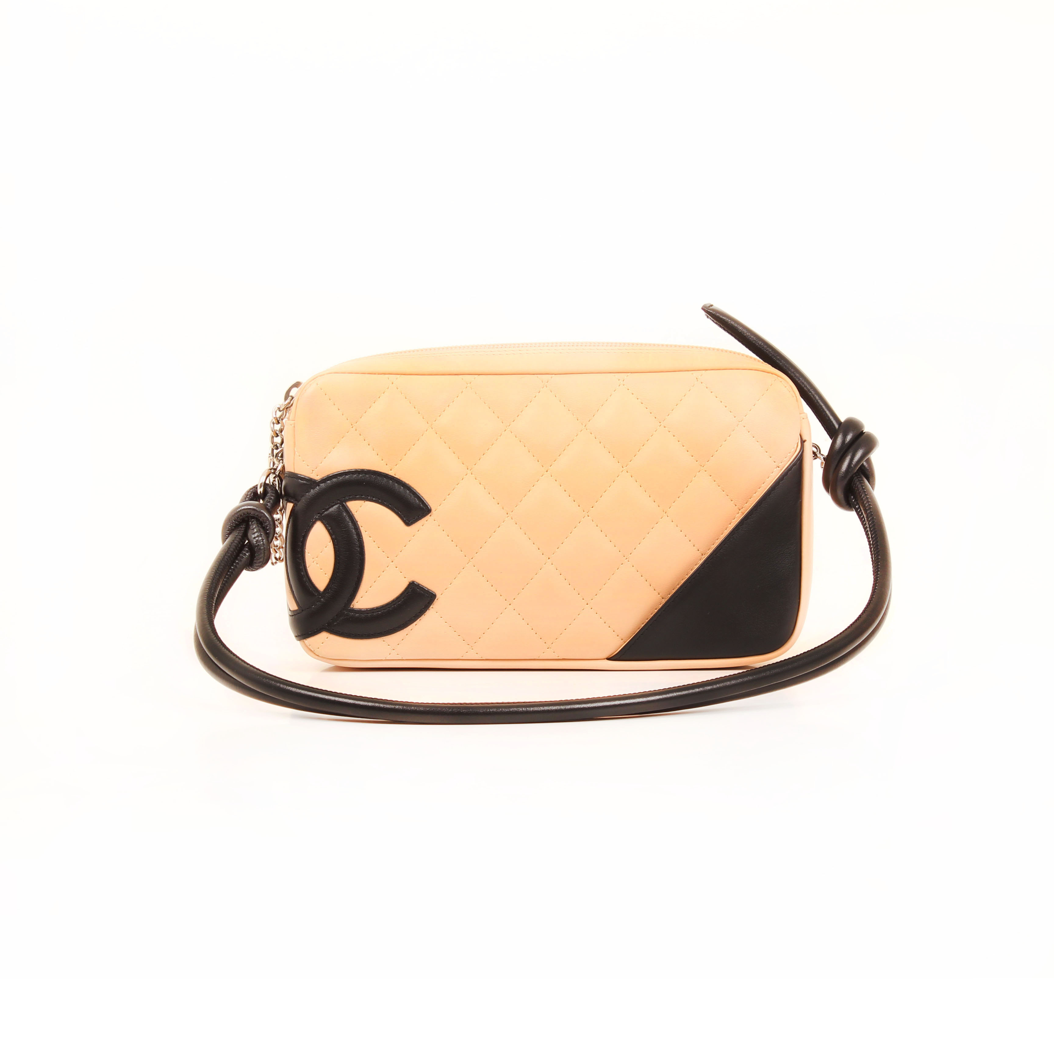 pochette chanel cambon lambskin quilted nude front