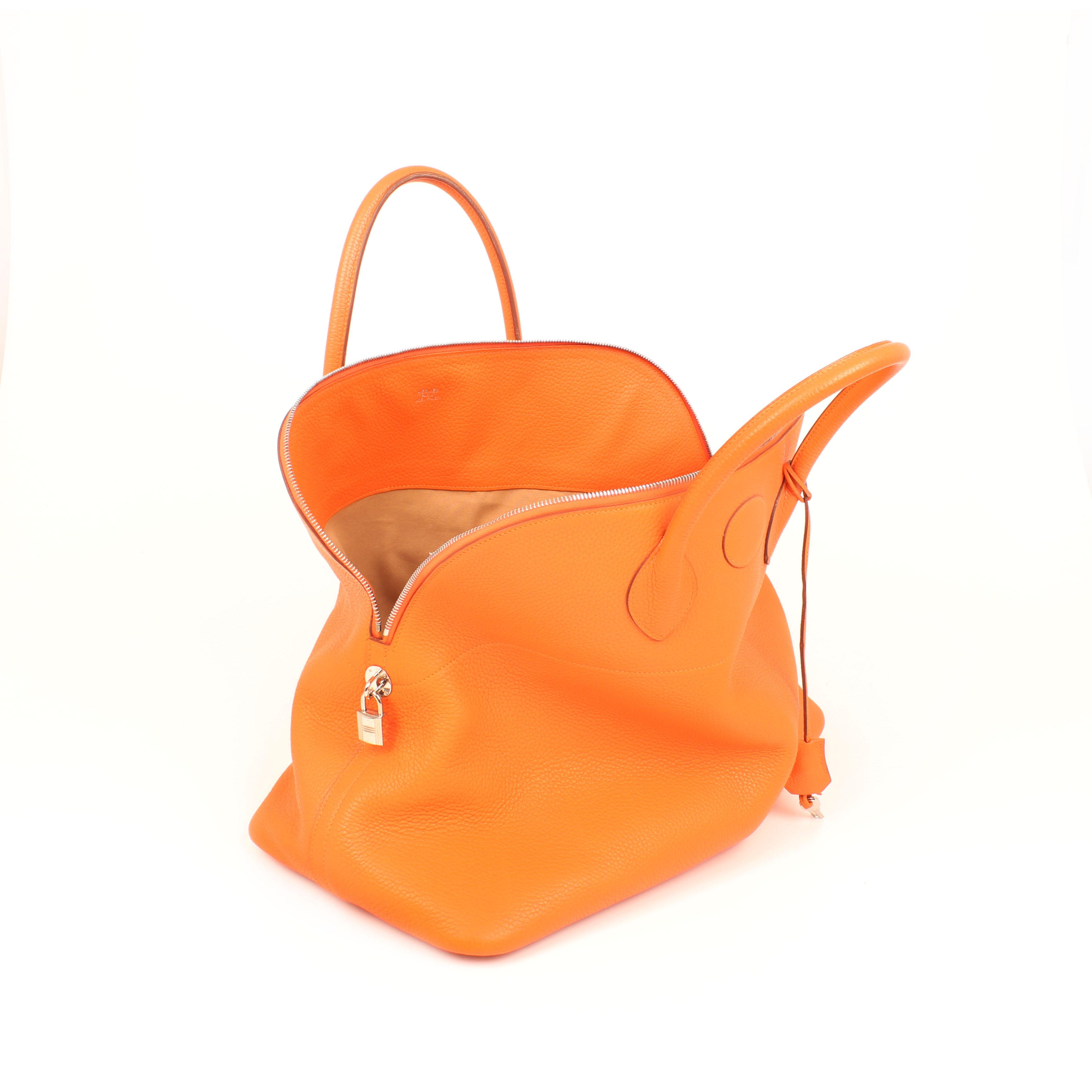 bolsa de viaje hermes bolide 45 piel togo naranja abierto