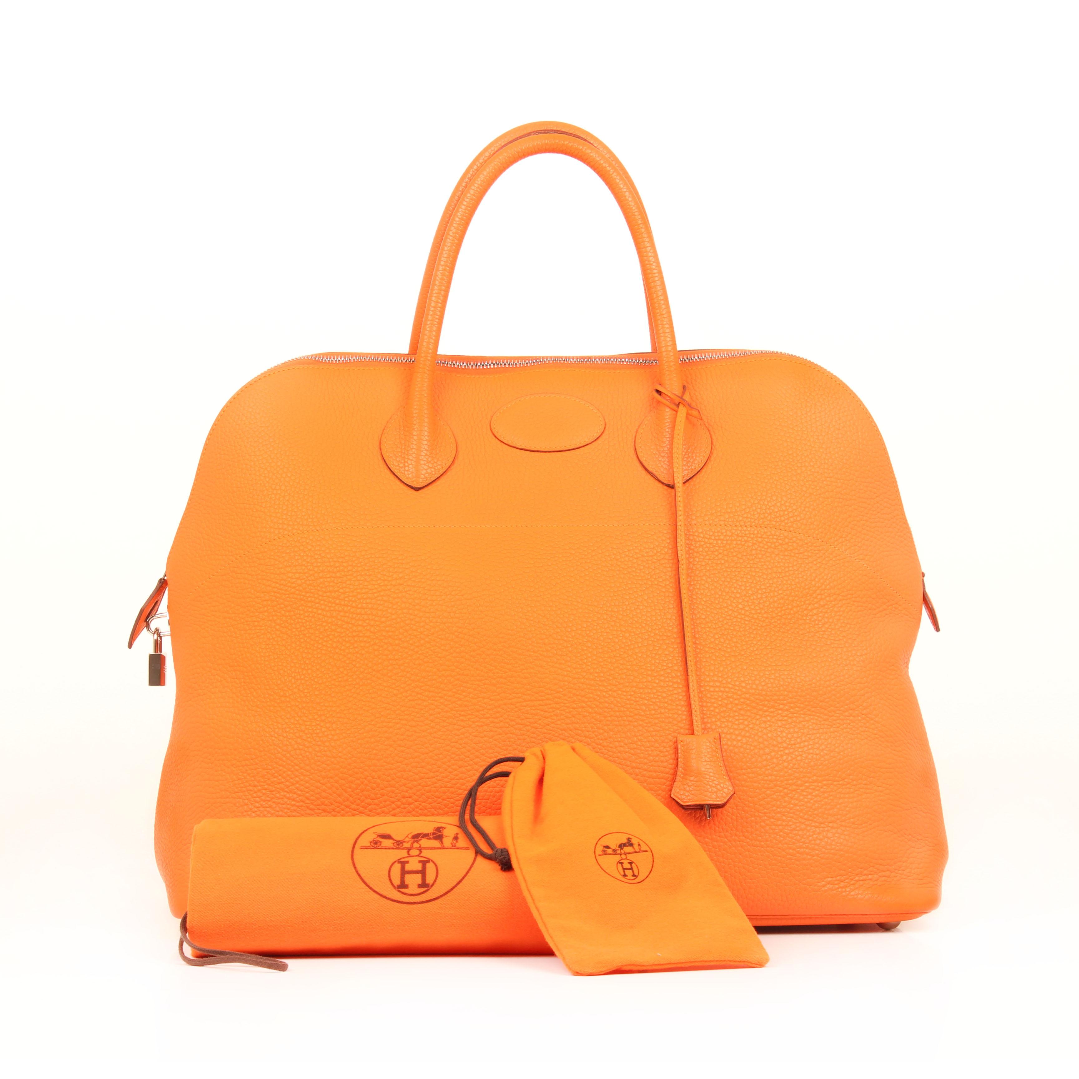 bolsa de viaje hermes bolide 45 piel togo naranja frontal fundas