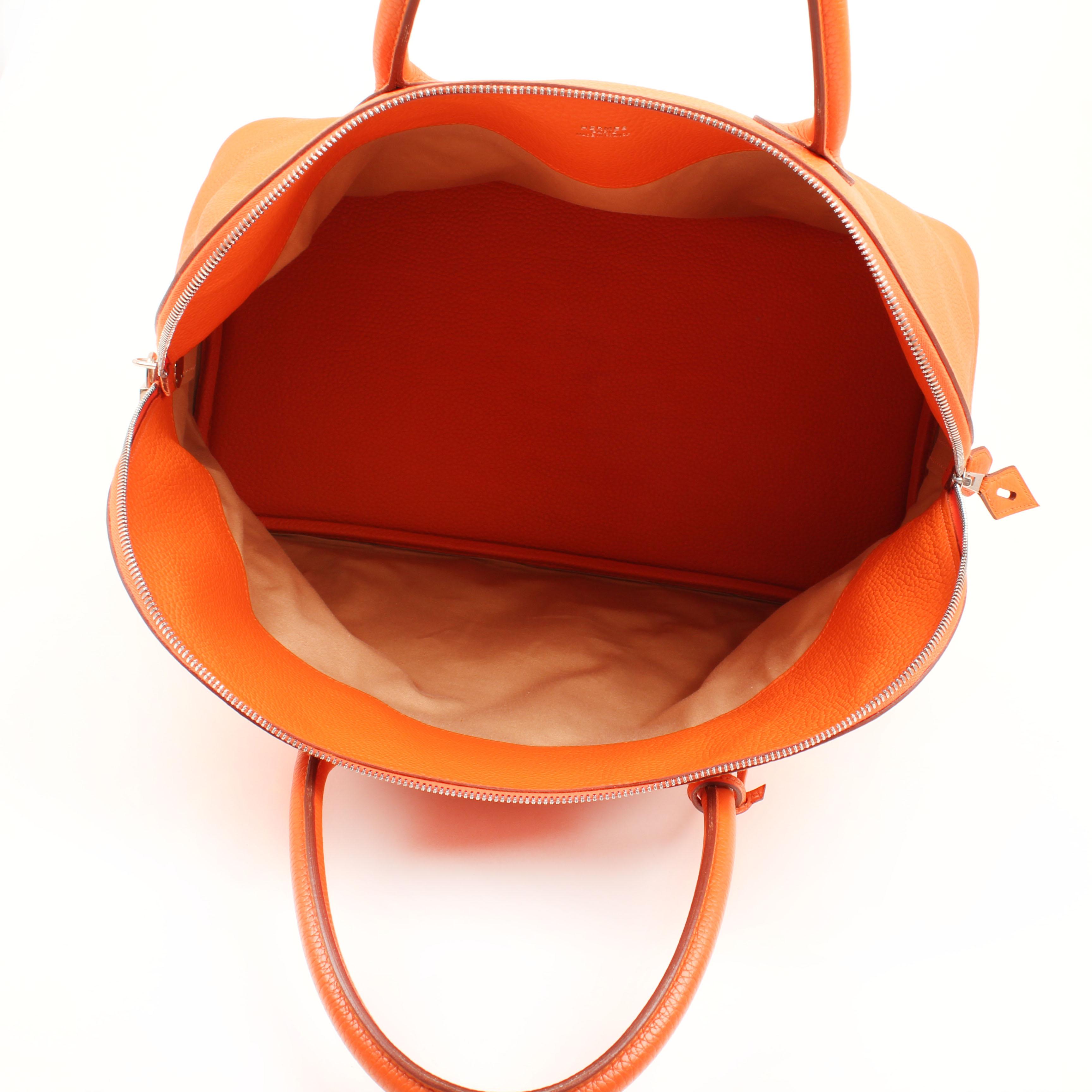bolsa de viaje hermes bolide 45 piel togo naranja interior
