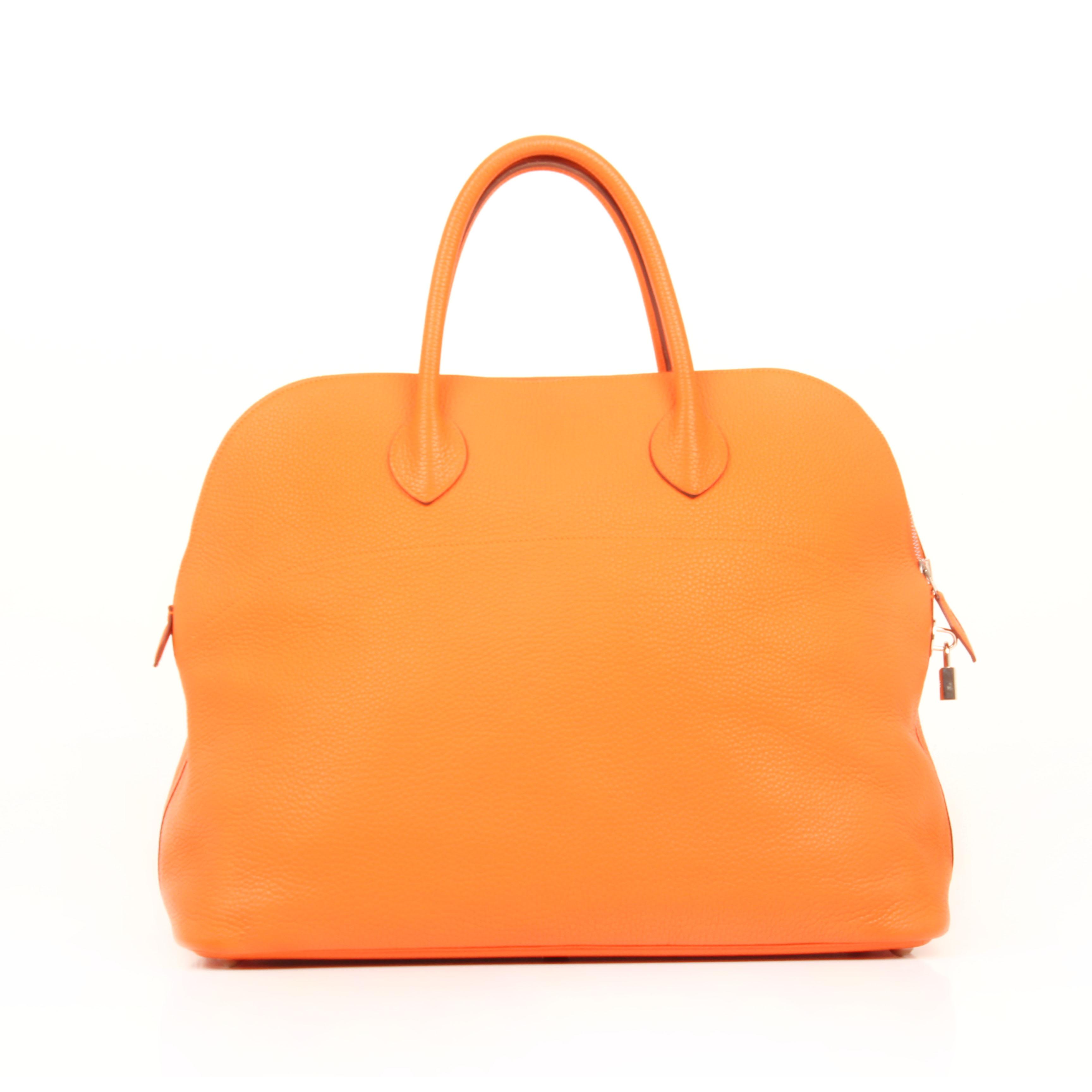 bolsa de viaje hermes bolide 45 piel togo naranja trasera