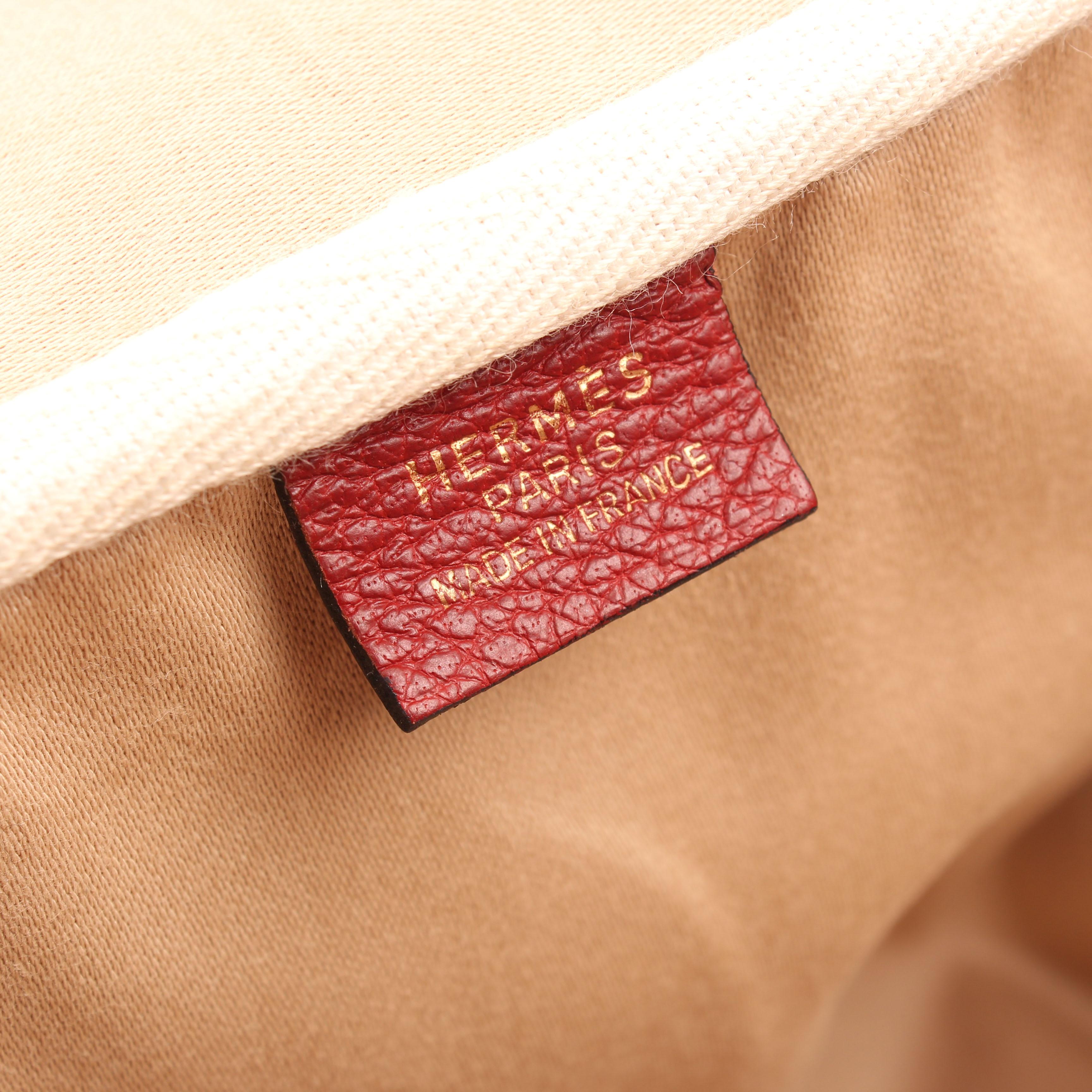bolsa de viaje hermes victoria II piel bufalo crinolina rouge etiqueta marca