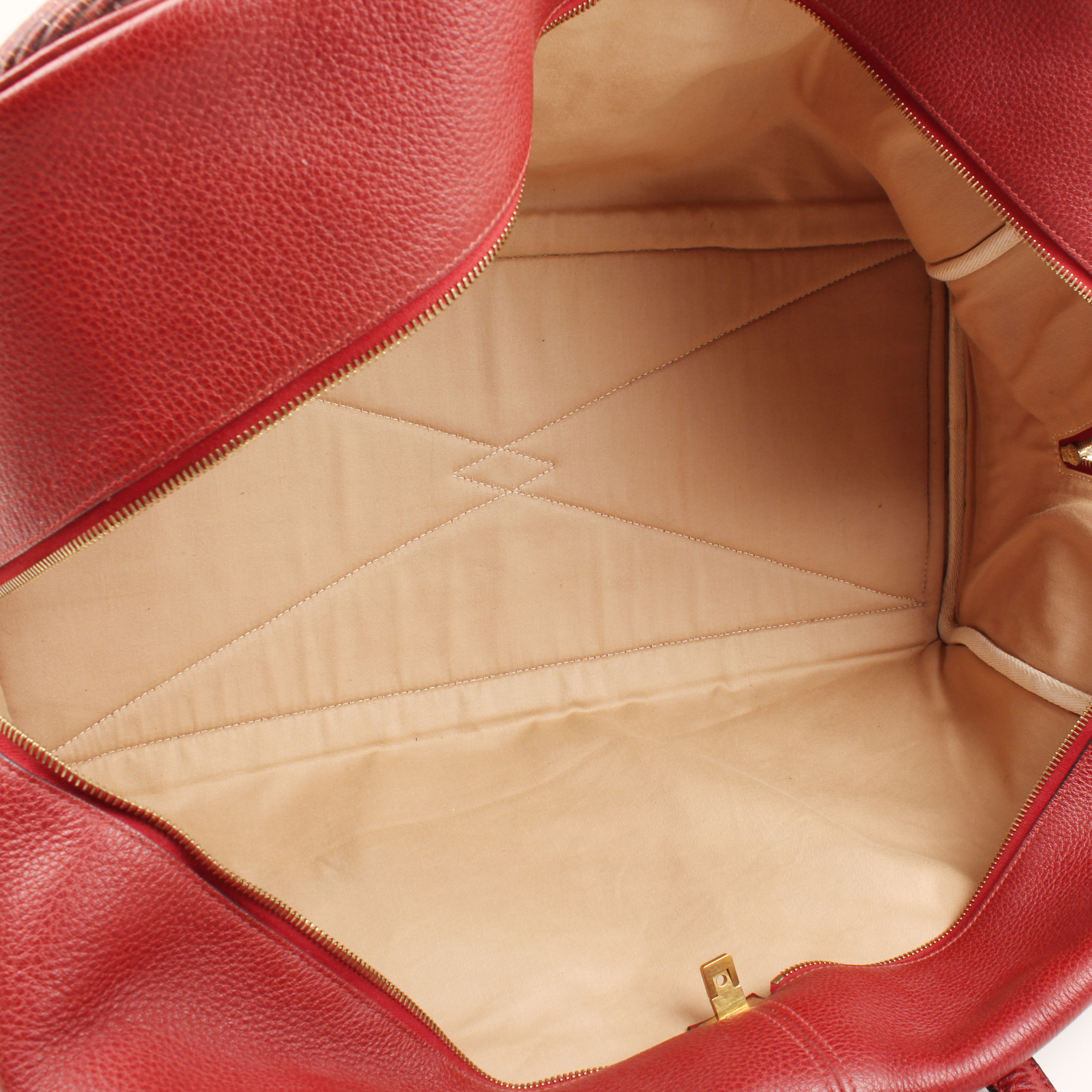 bolsa de viaje hermes victoria II piel bufalo crinolina rouge interior