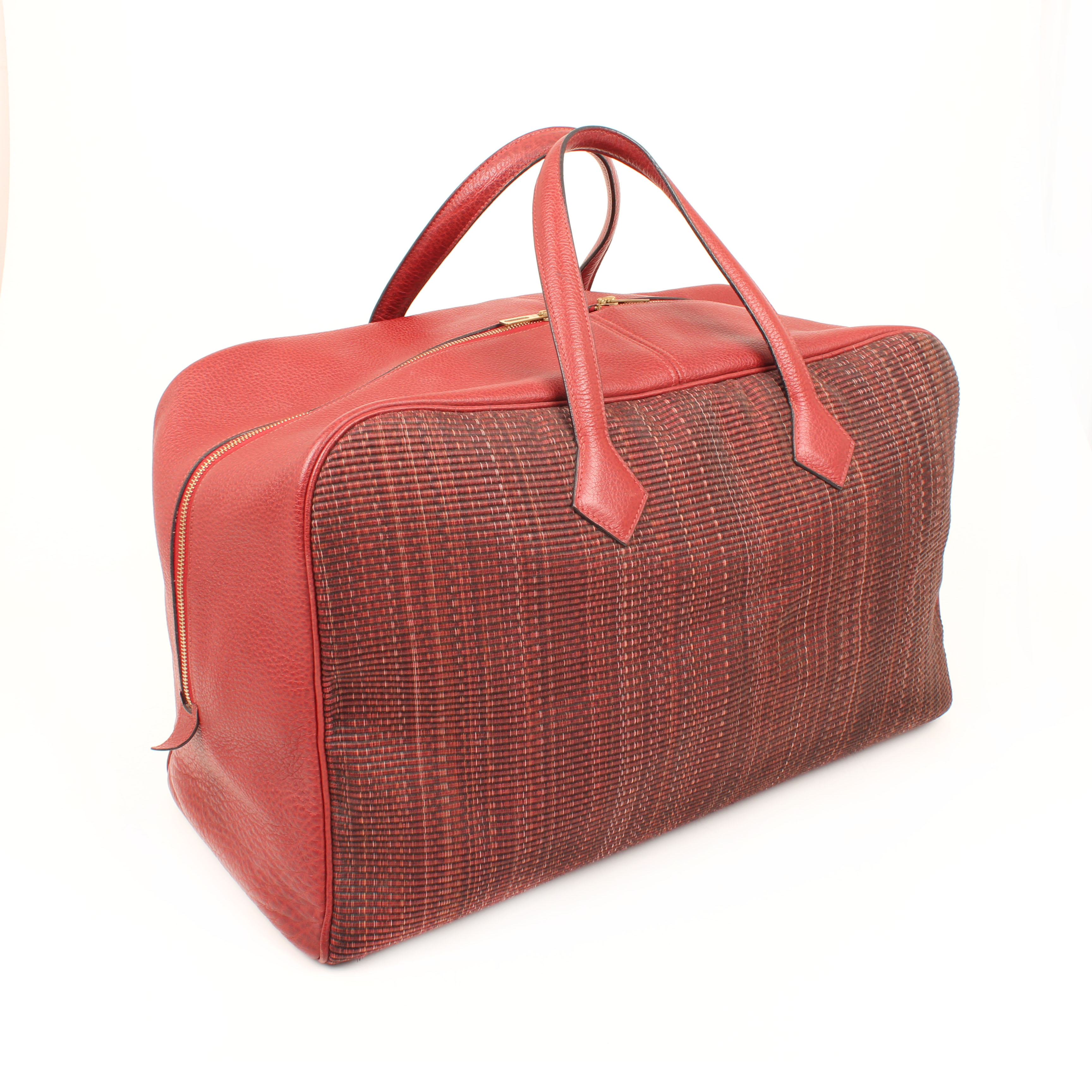bolsa de viaje hermes victoria II piel bufalo crinolina rouge trasera