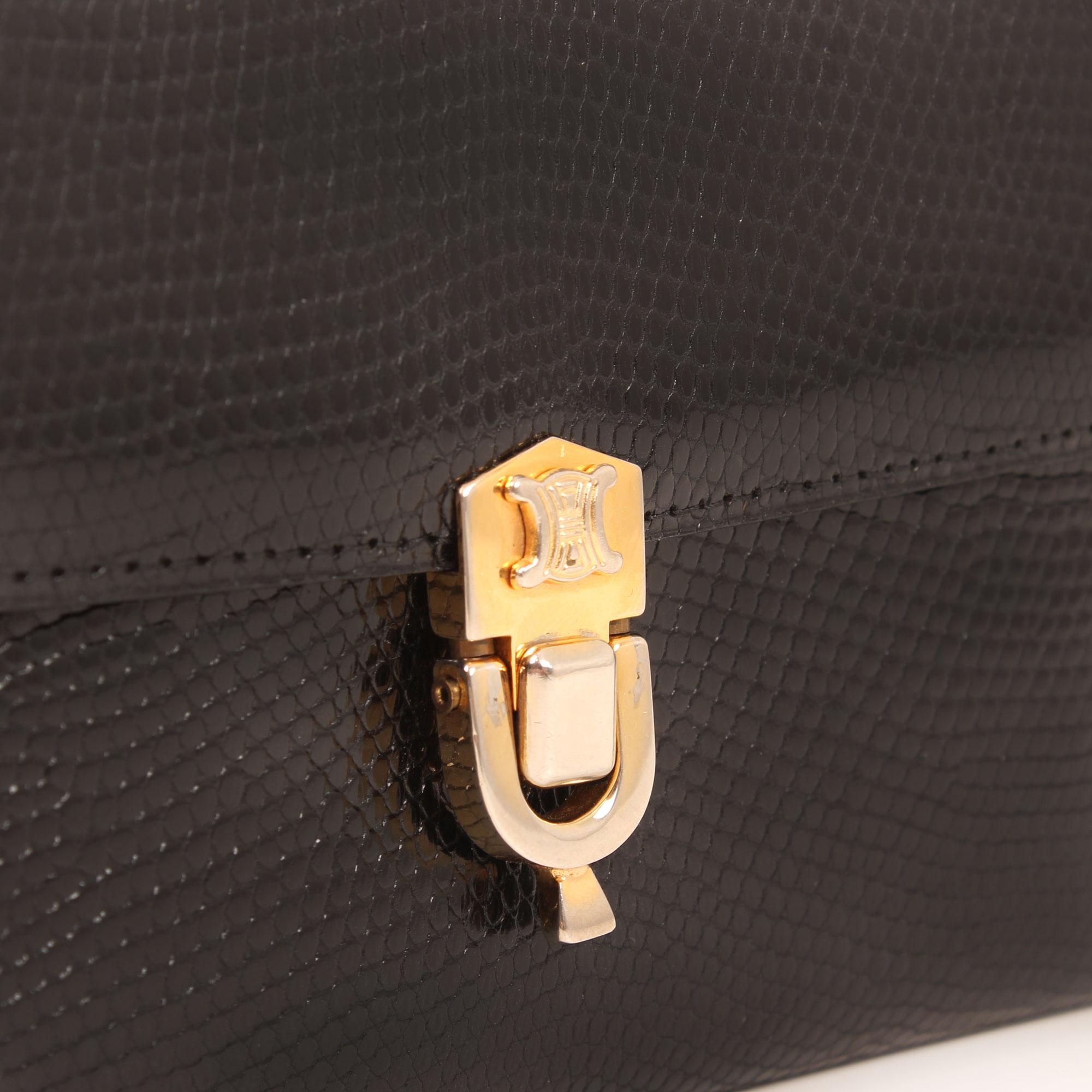 Imagen del cierre del bolso celine clutch lizard vintage cierre