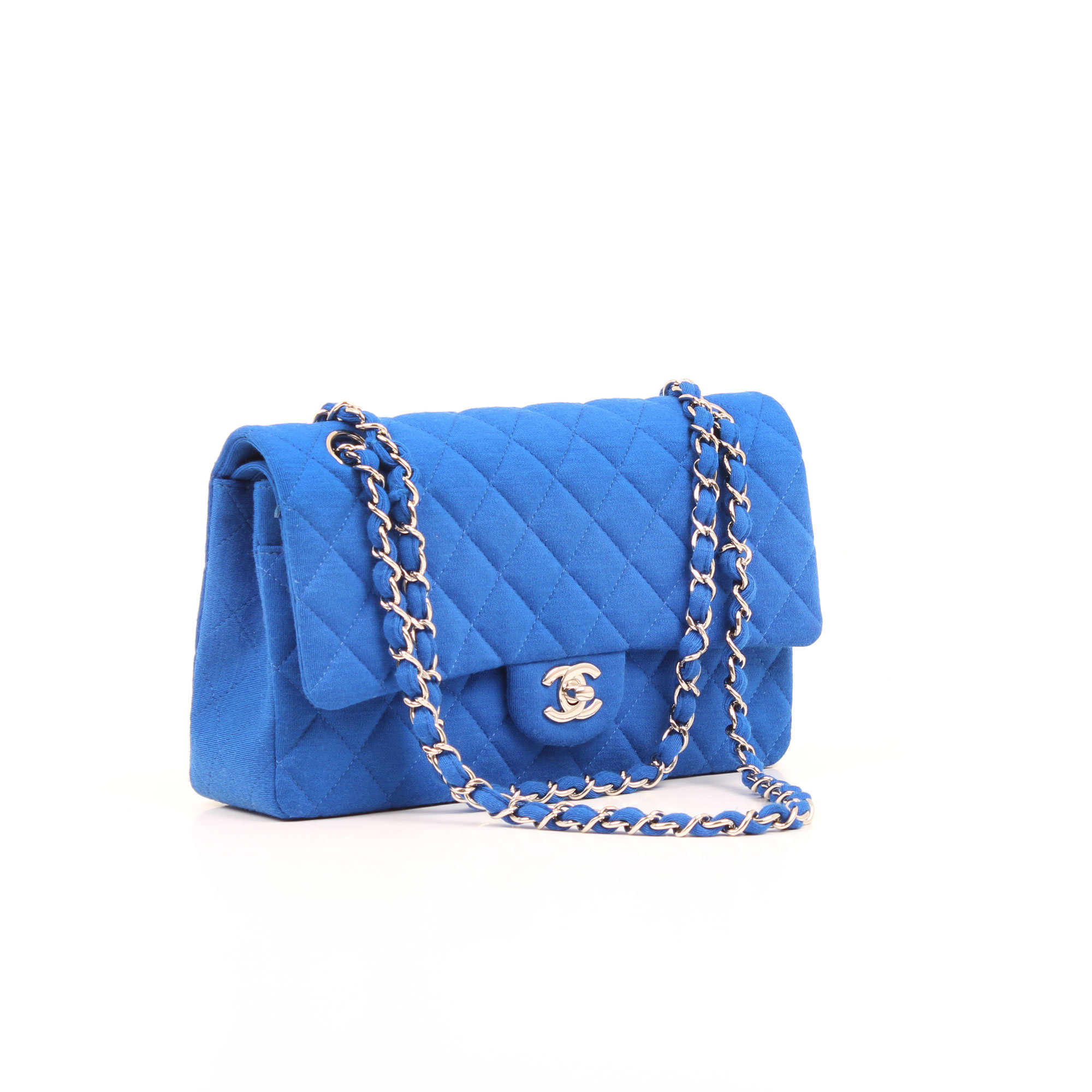 General image of chanel classic jersey blue quilted timeless double flap bag