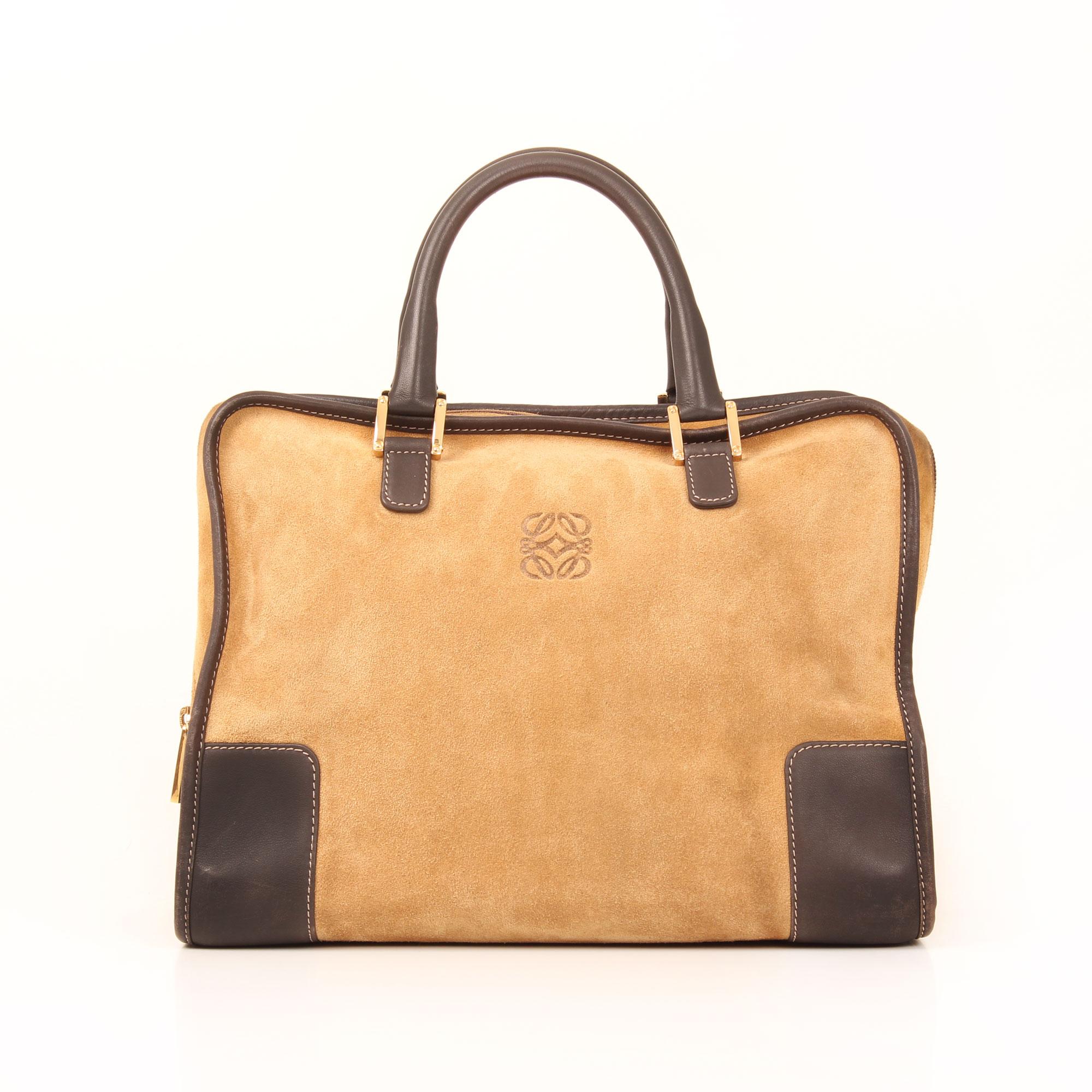 Front image of loewe amazona 32 suede beige bag