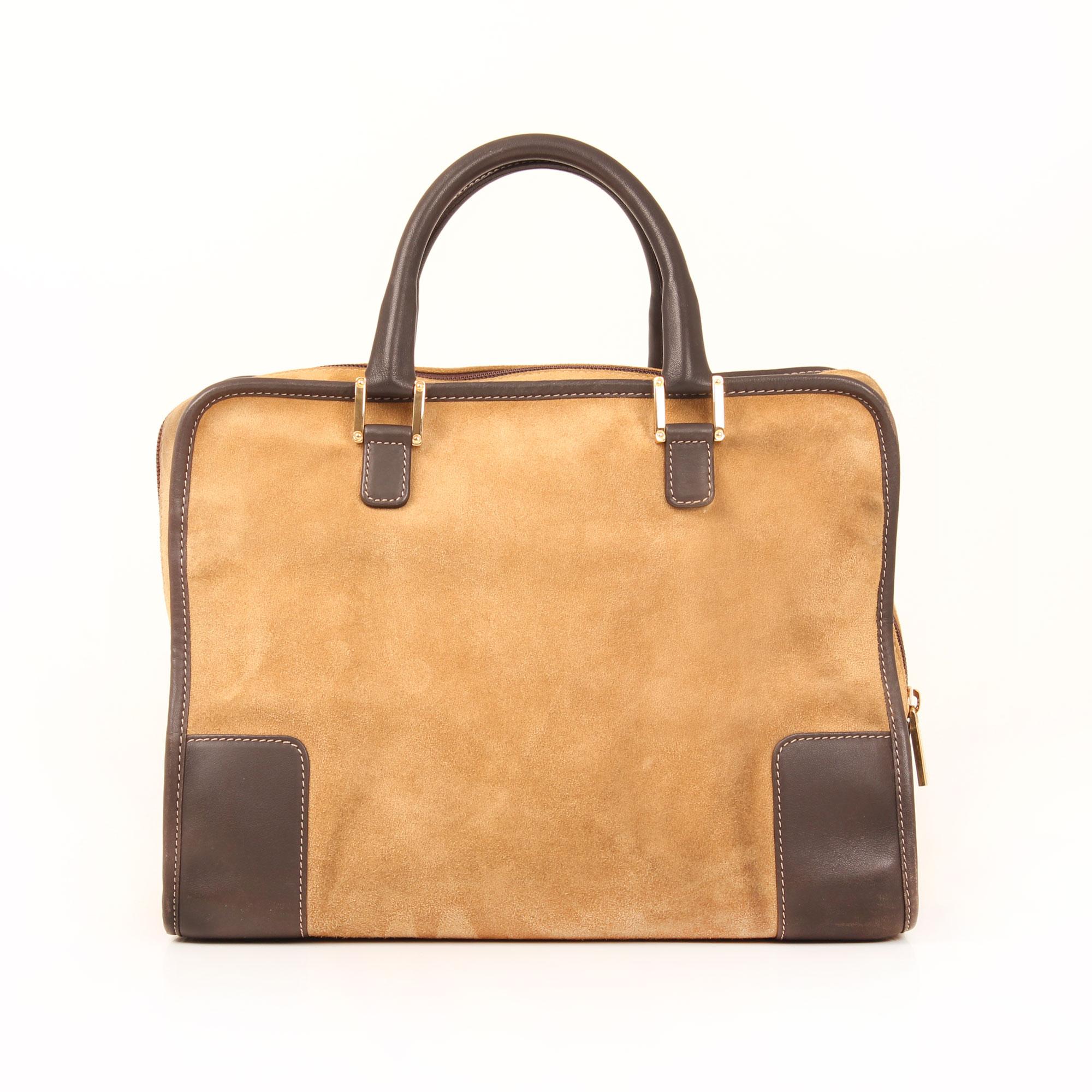 Back image of loewe amazona 32 suede beige bag