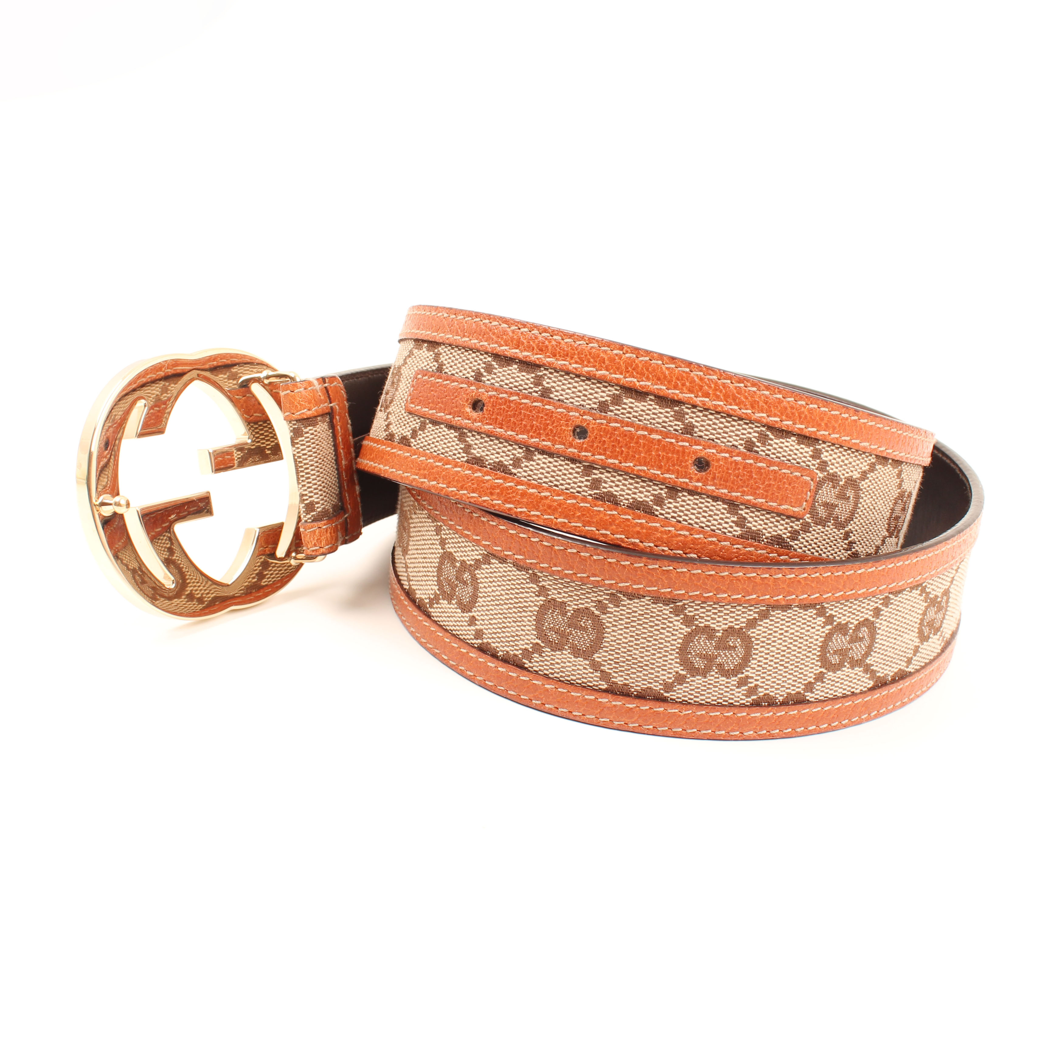 belt gucci gg canvas leather holes