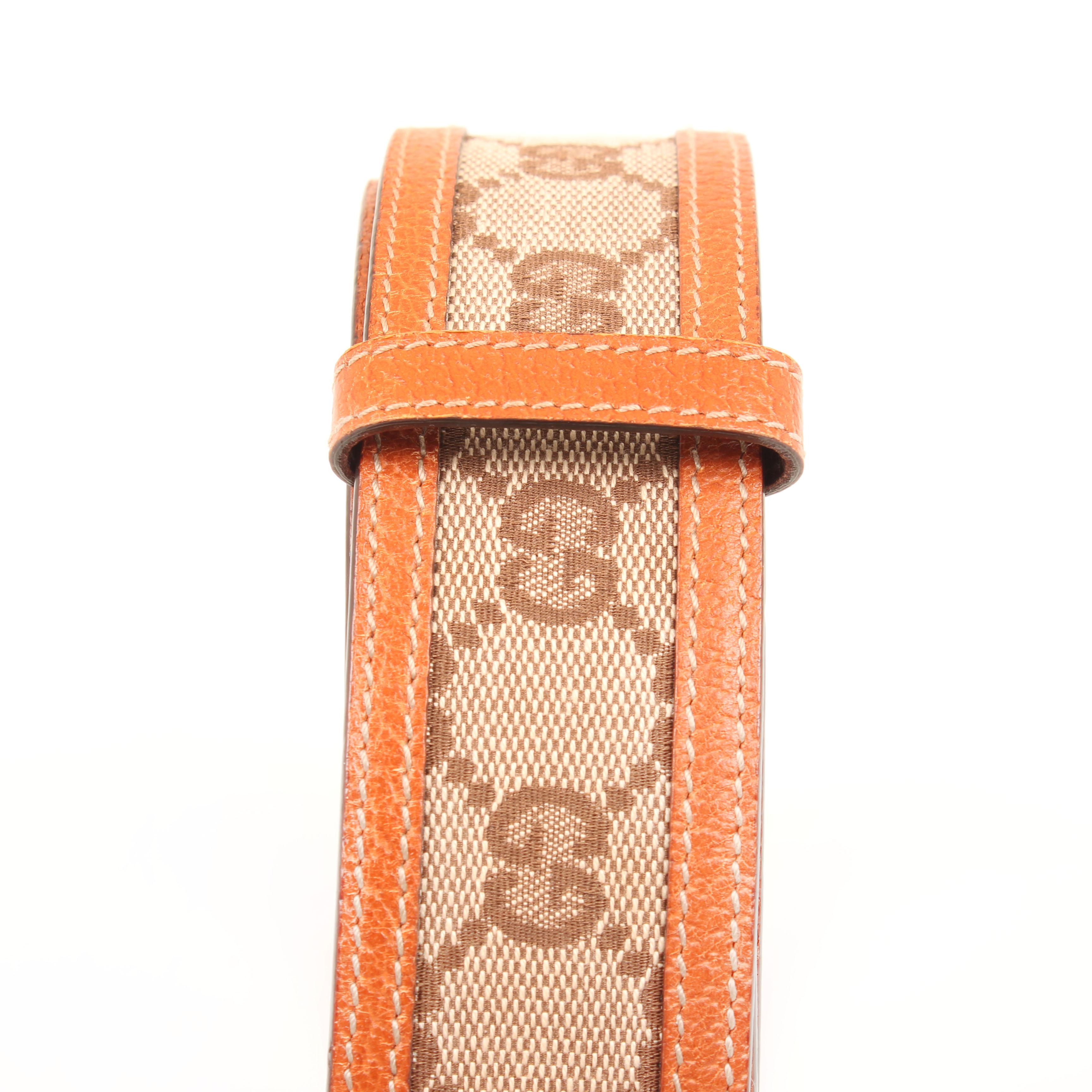 belt gucci gg canvas leather strap