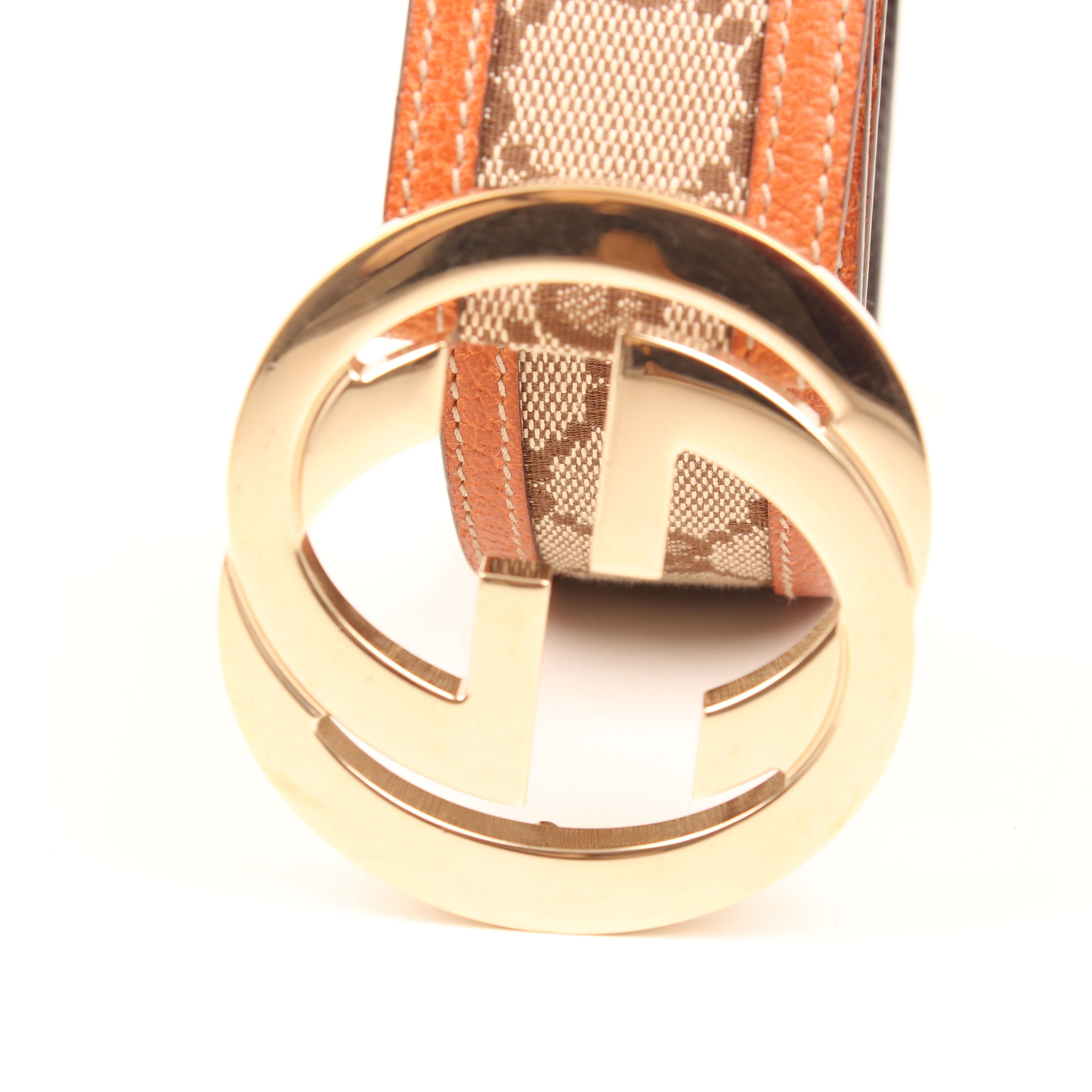 belt gucci gg canvas leather detail