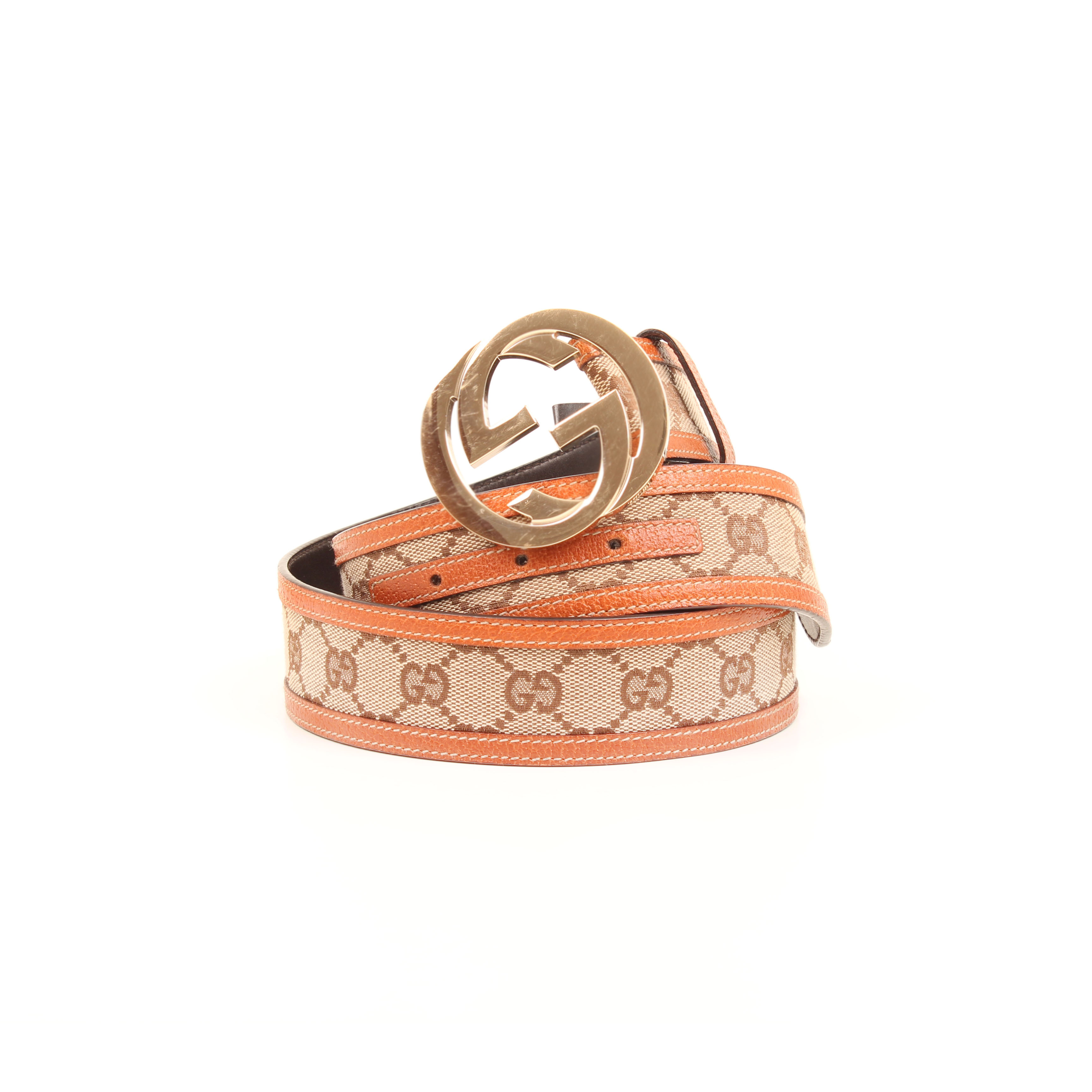 belt gucci gg canvas leather rolled