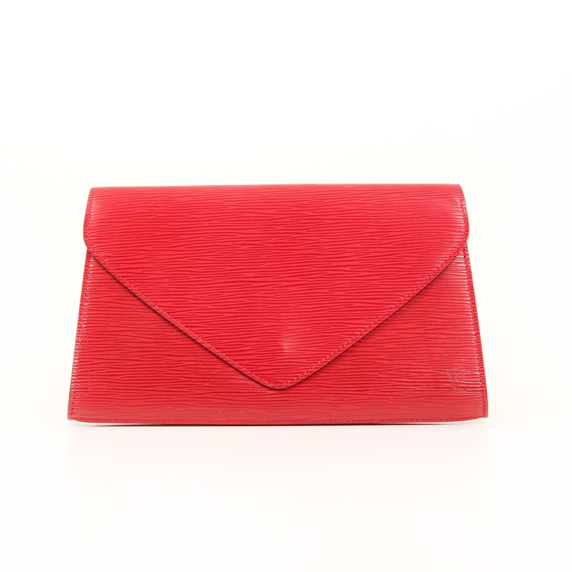Front image of louis vuitton vintage red epi clutch
