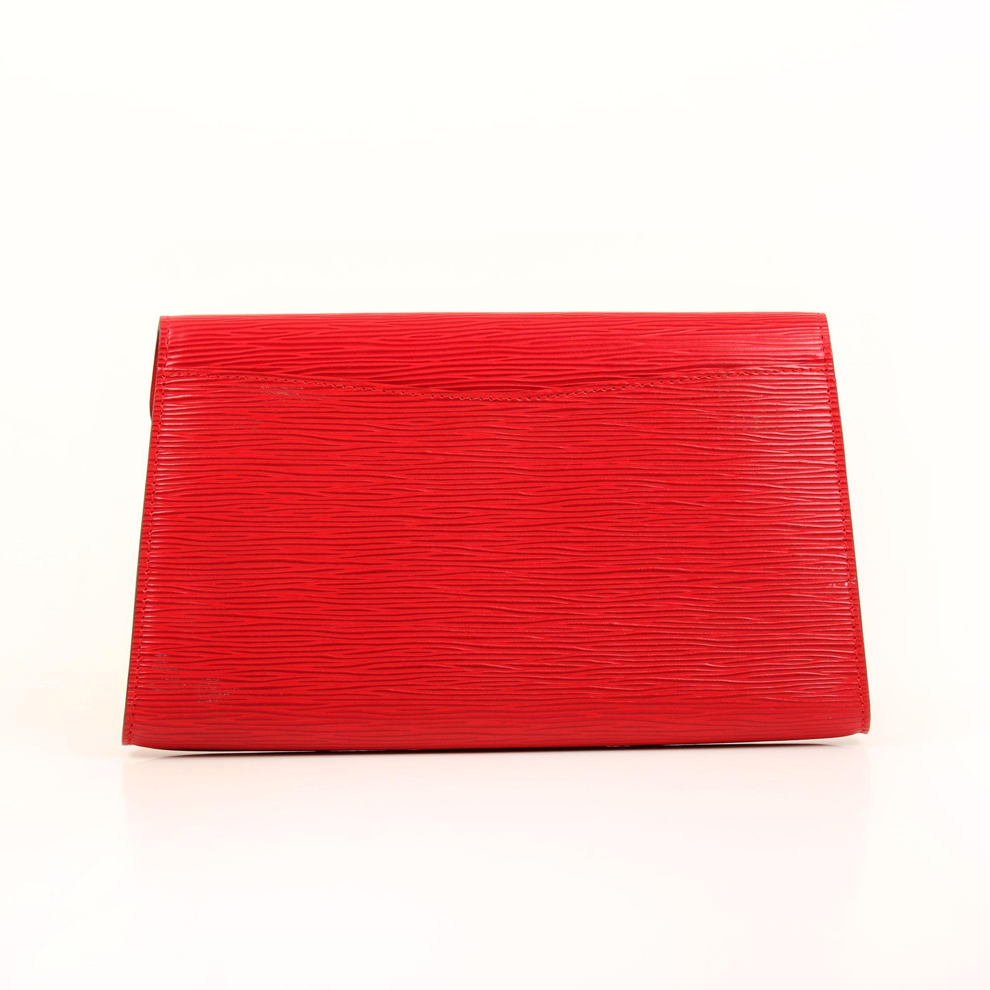 Back image of louis vuitton vintage red epi clutch