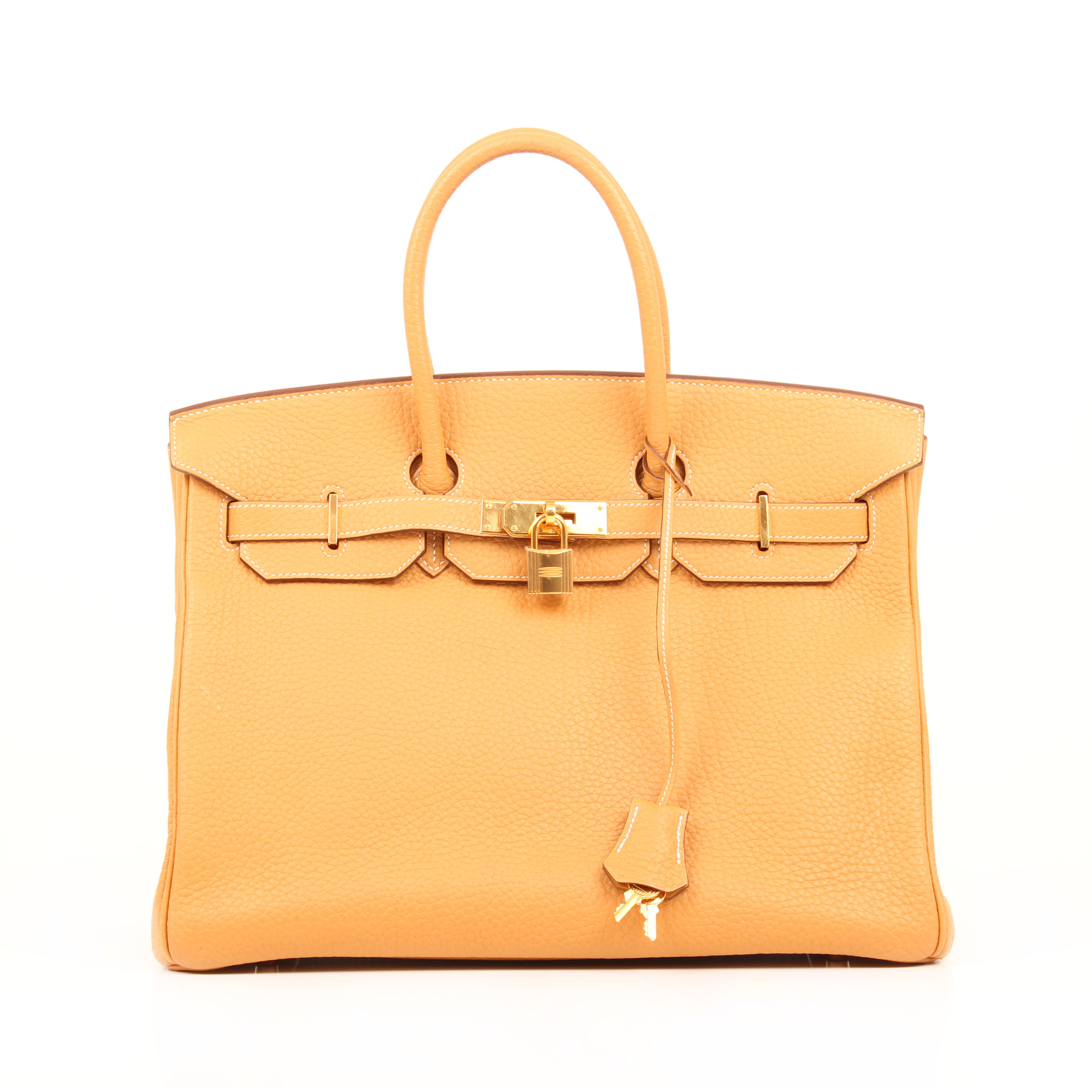 bolso hermes birkin 35 piel fjord curry frontal