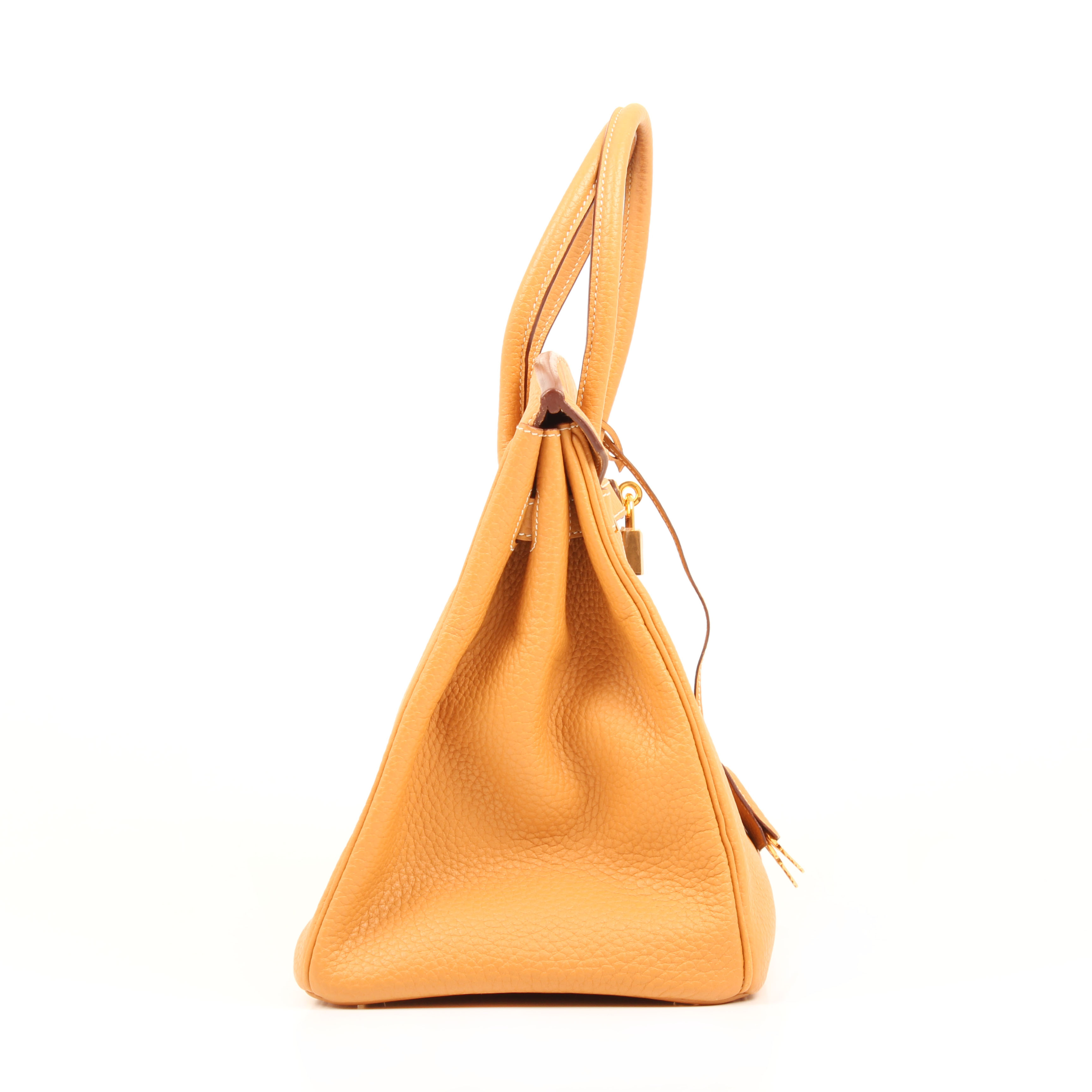 bolso hermes birkin 35 piel fjord curry lateral