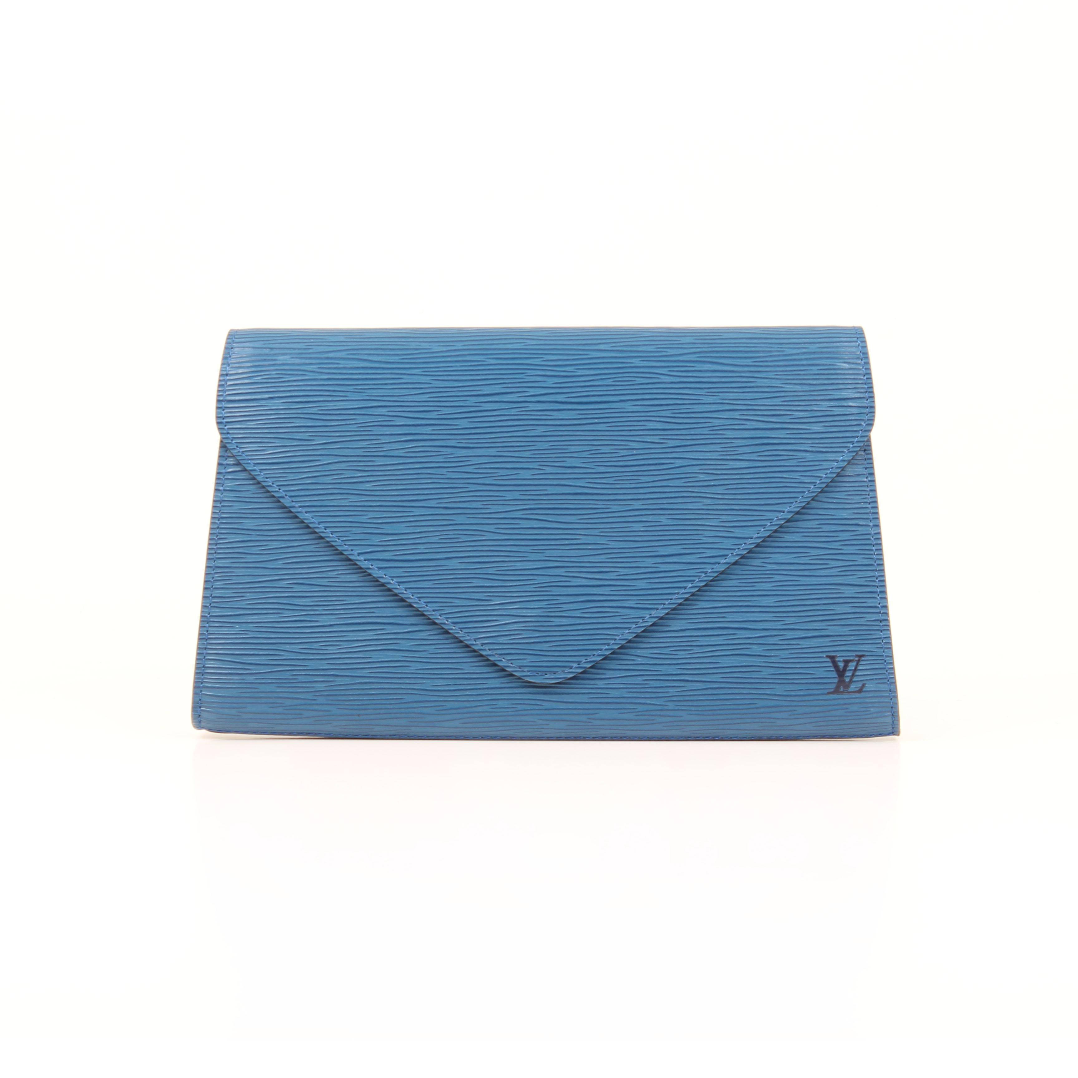 louis vuitton clutch vintage epi blue