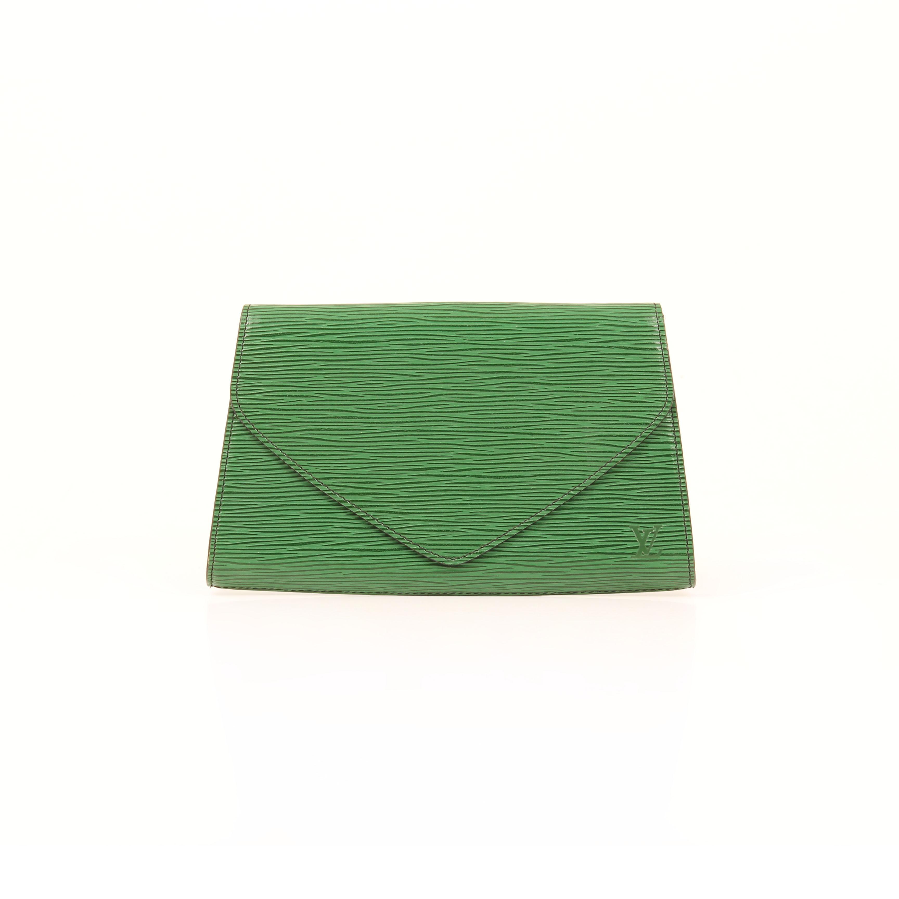 louis vuitton clutch vintage epi green