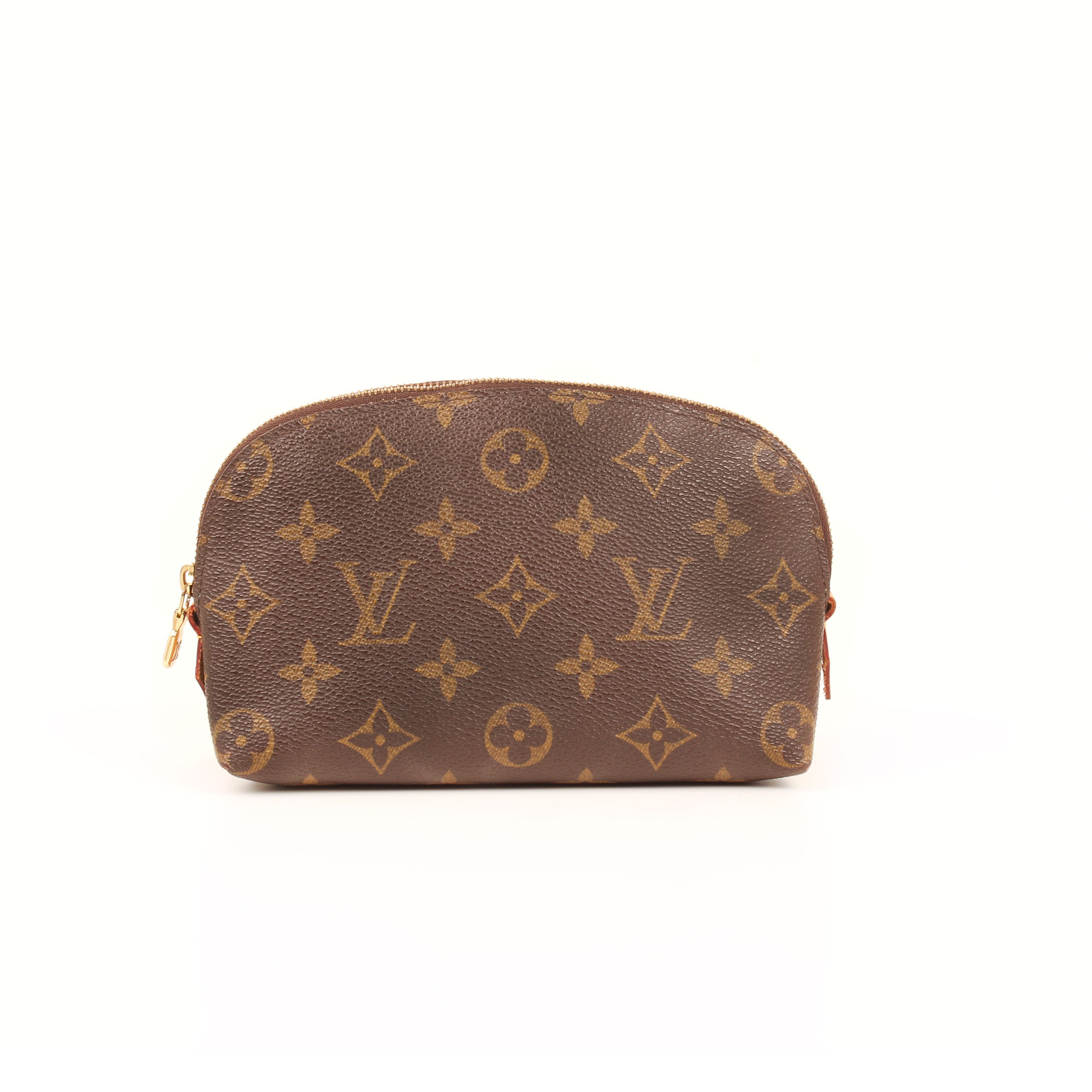 Front image of louis vuitton cosmetic pouch monogram