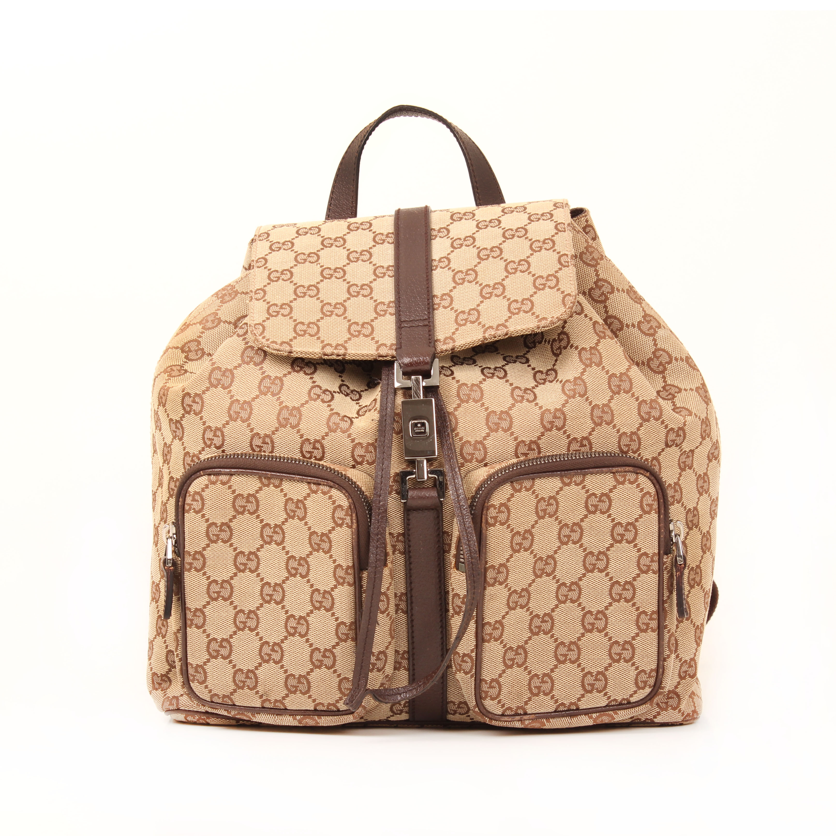 Front image of gucci monogram brown canvas backpack