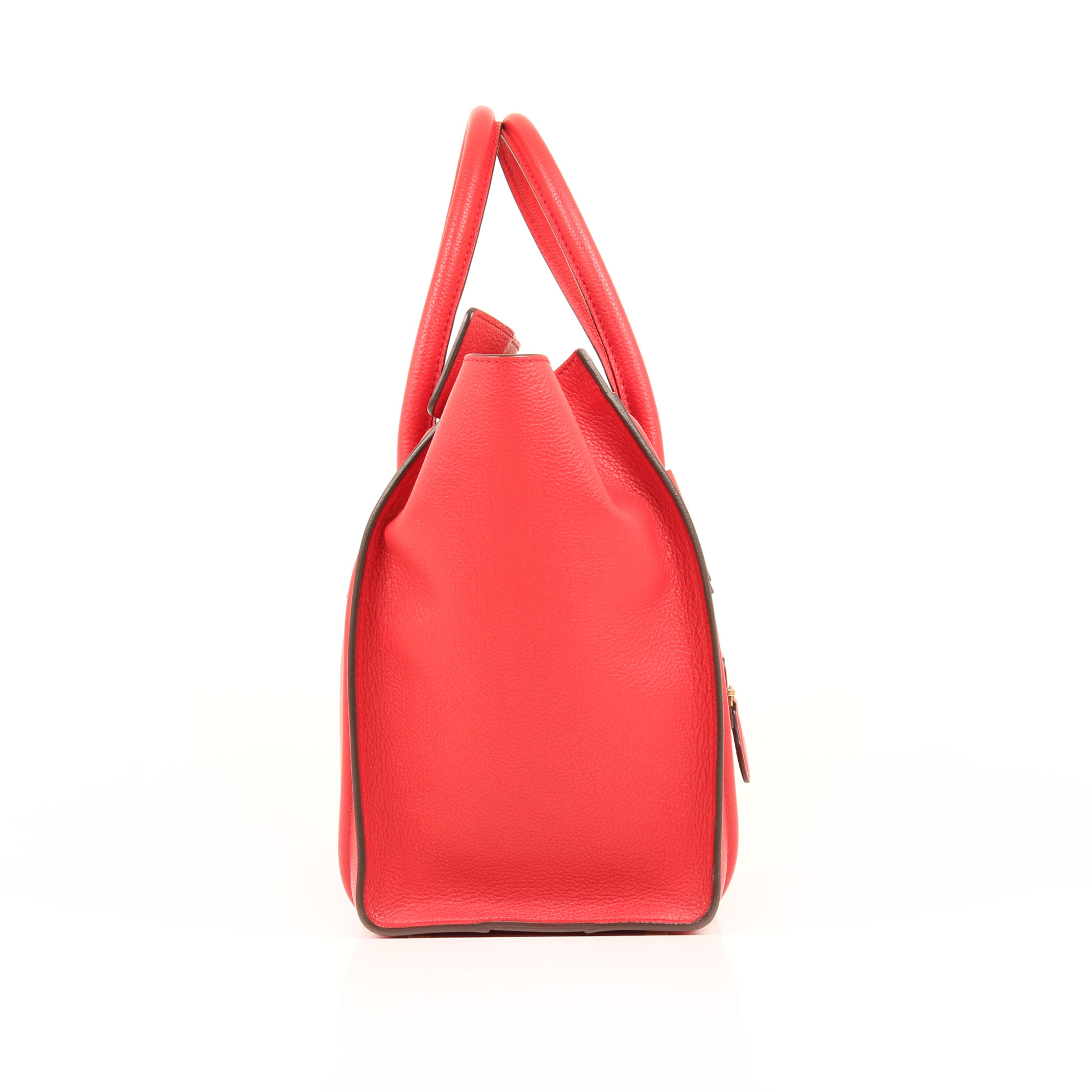 Imagen lateral del bolso celine mini lugagge tote coquelicot