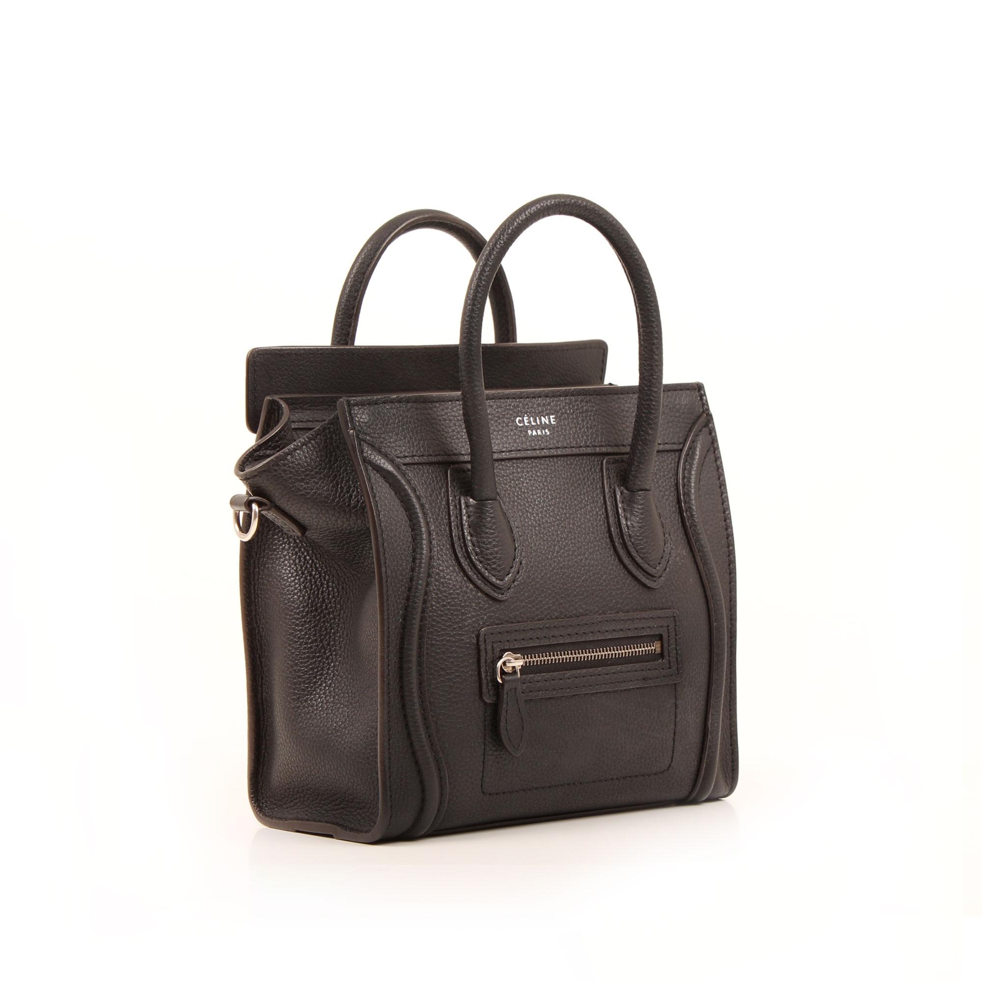 Imagen general sin bandolera del bolso celine nano luggage negro piel becerro