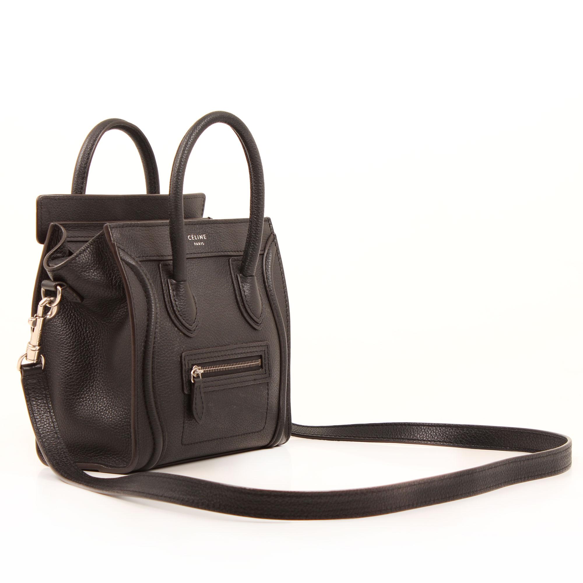 Imagen del bolso con bandolera celine nano luggage negro piel becerro