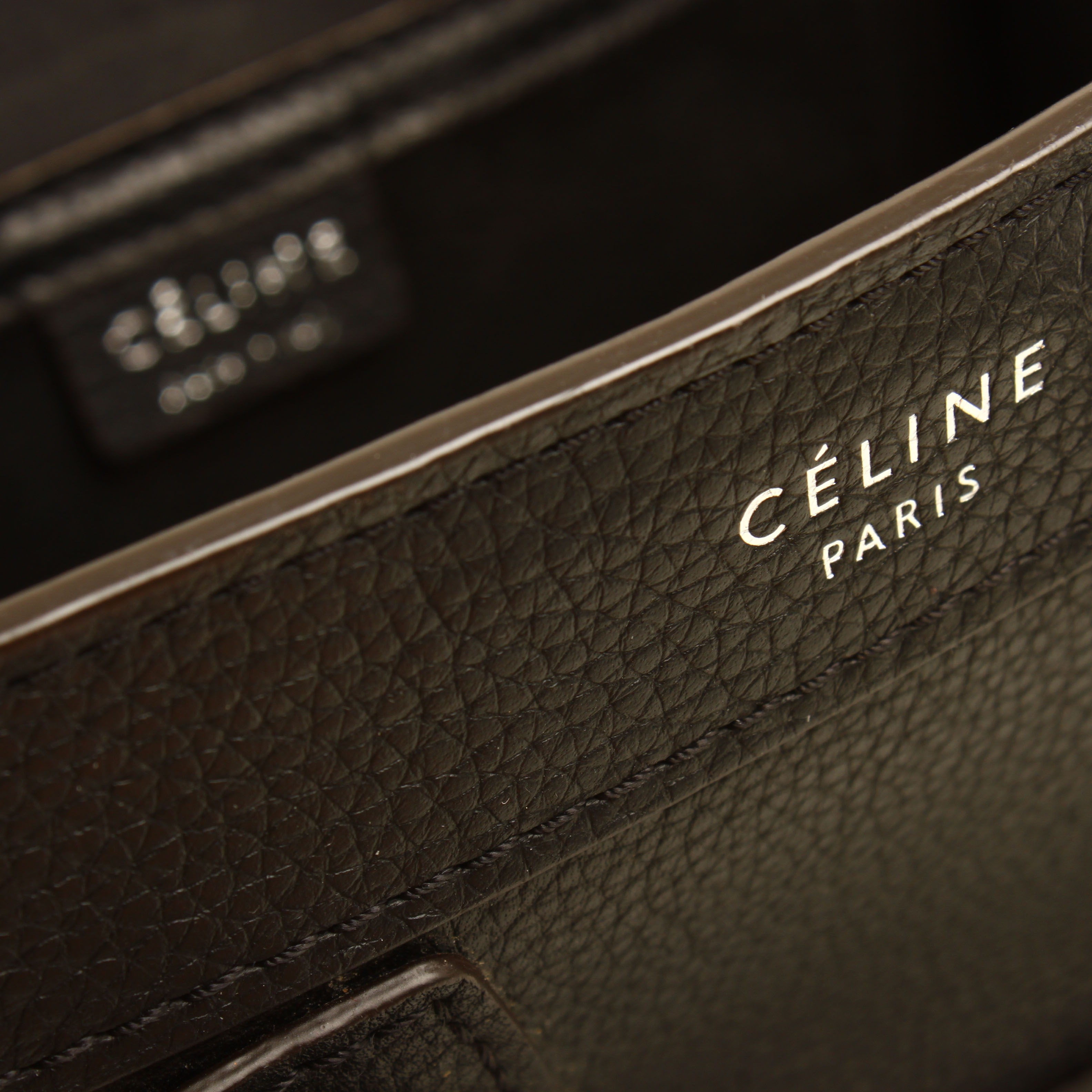 bolso celine nano luggage negro piel becerro bandolera marca