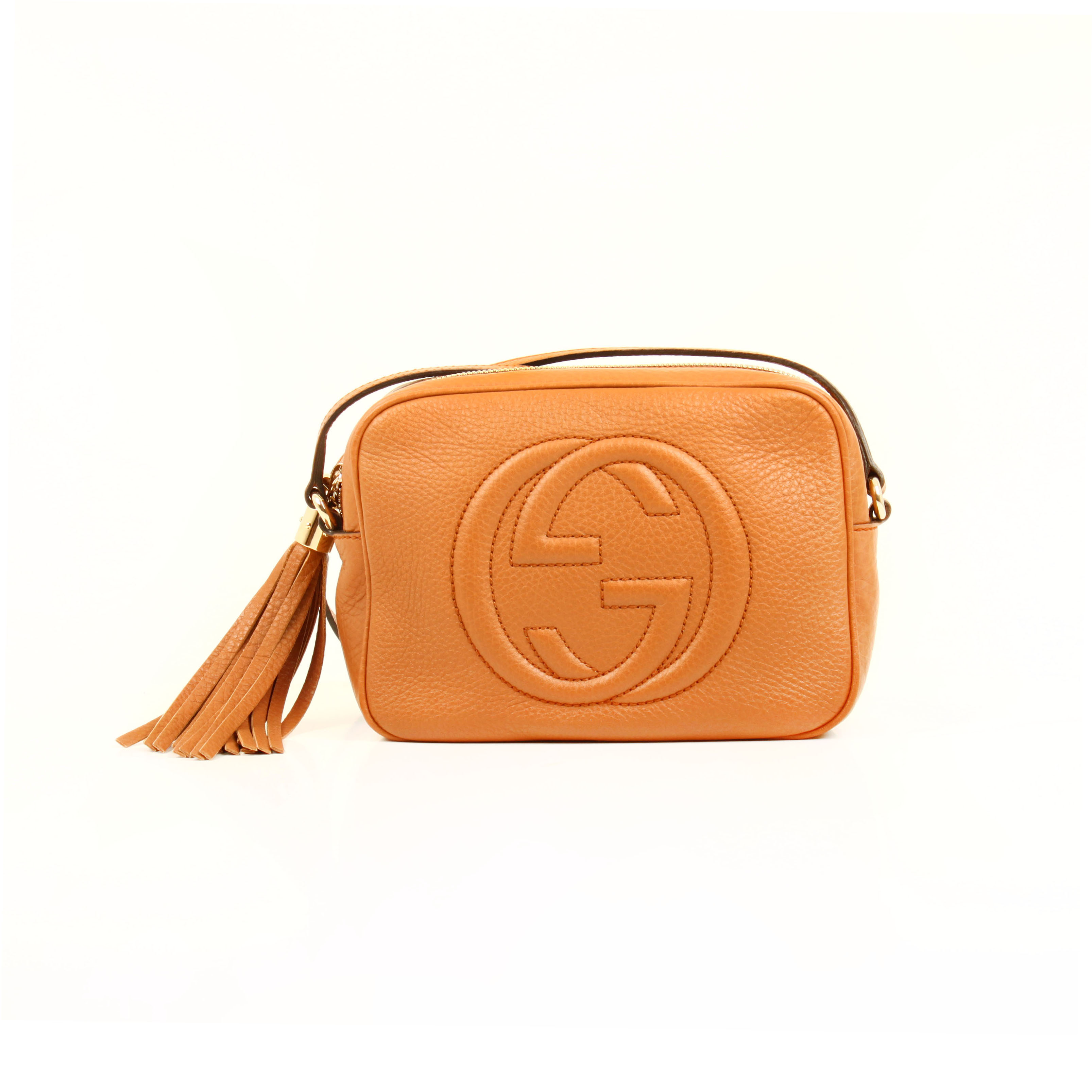 gucci soho disco bag leather maple brown crossbody front