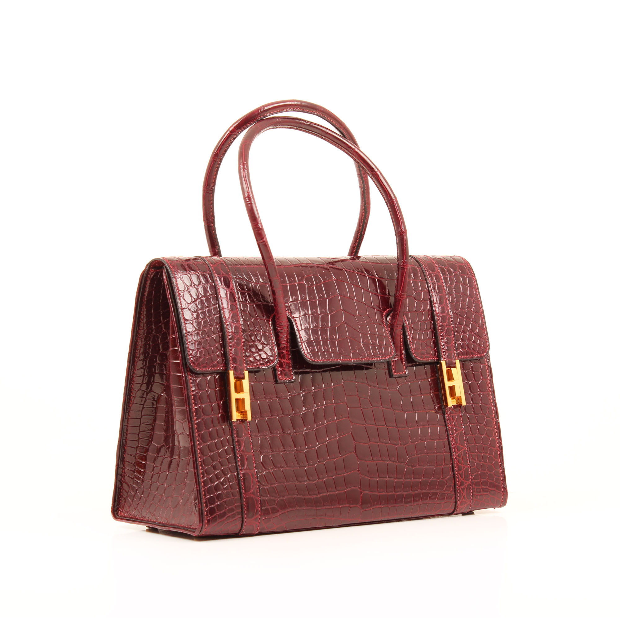 General image 2 of hermes drag vintage croco bag porosus raspberry color