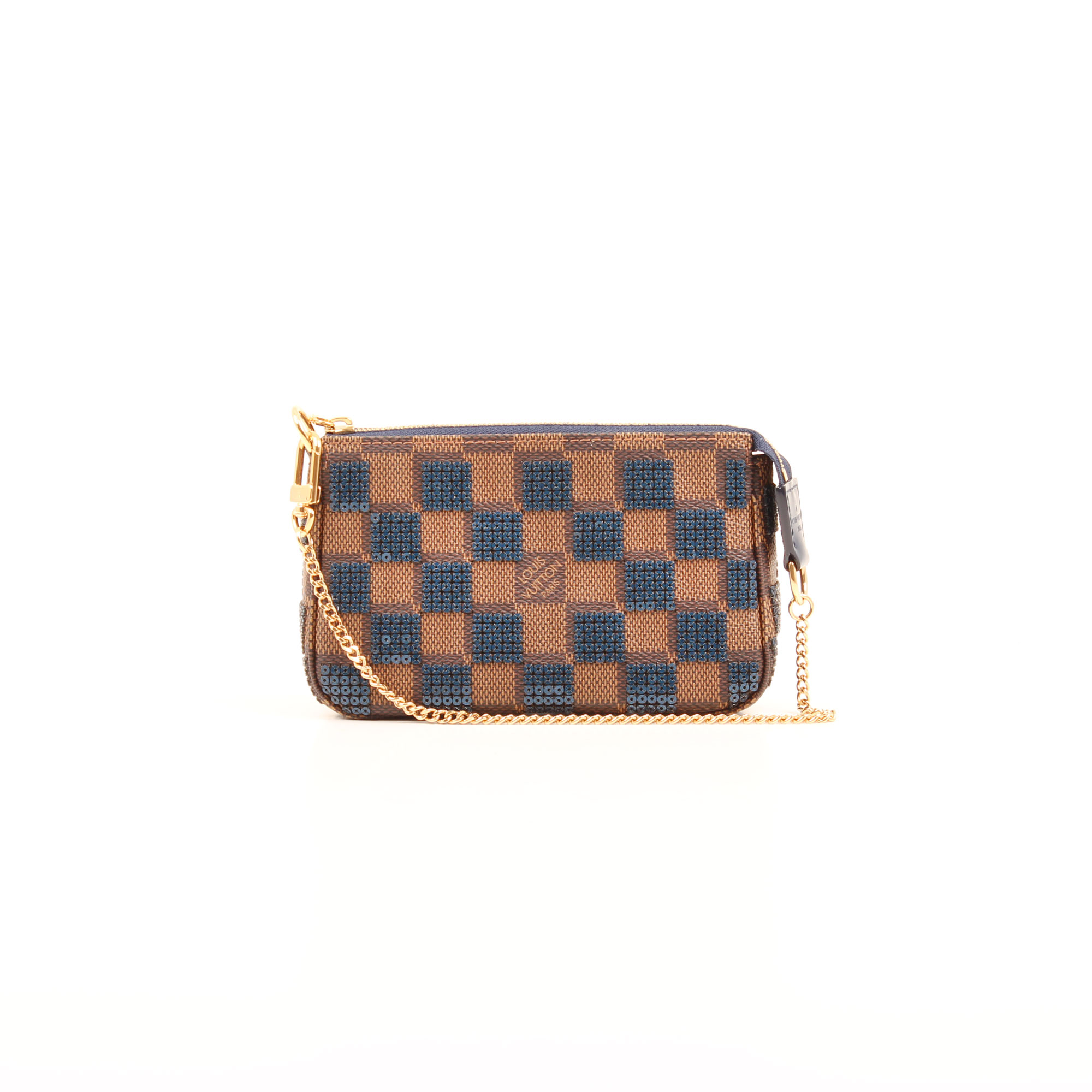 Front image of louis vuitton damier paillettes mini accessories pochette