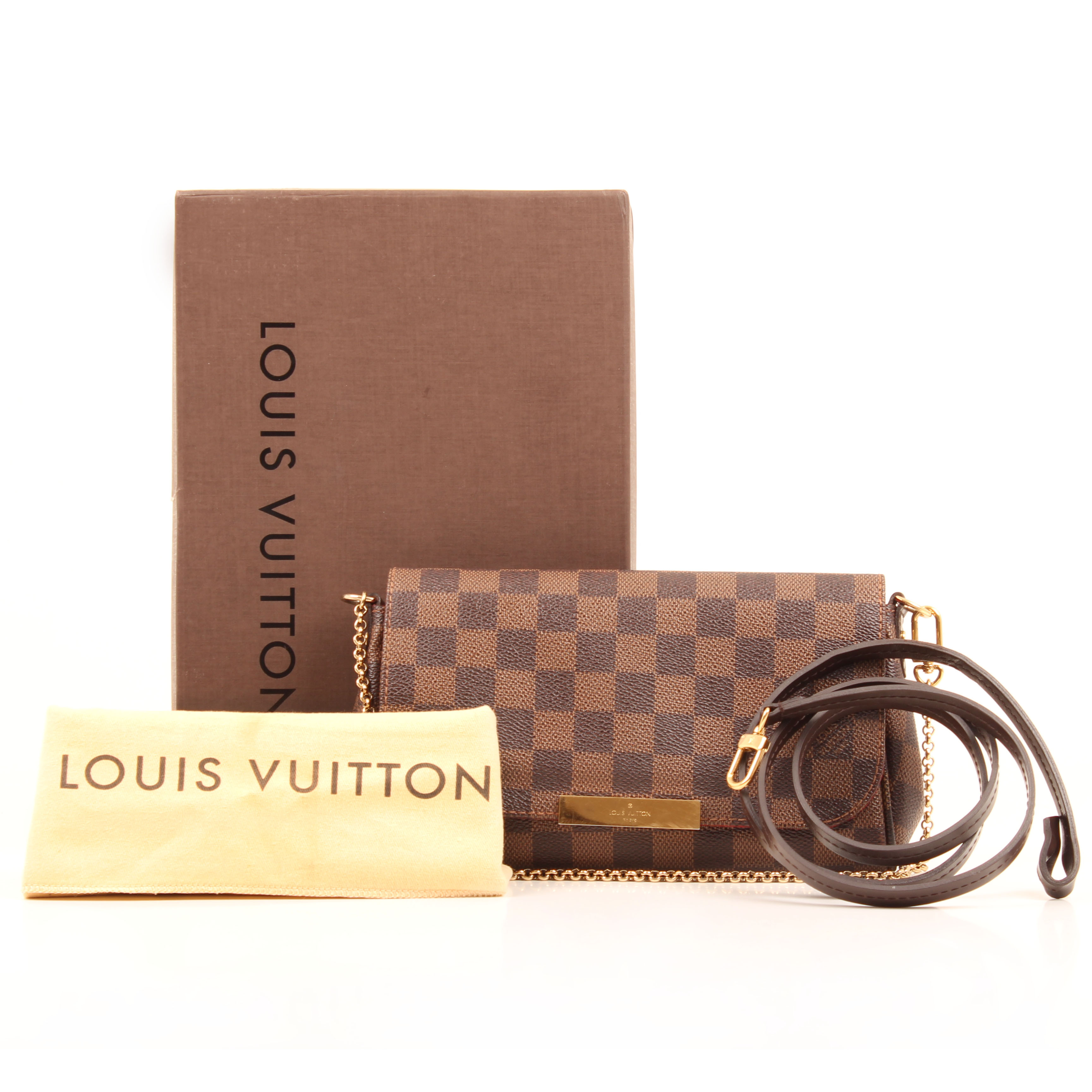 clutch louis vuitton favorite pm damier ebene box dustbag